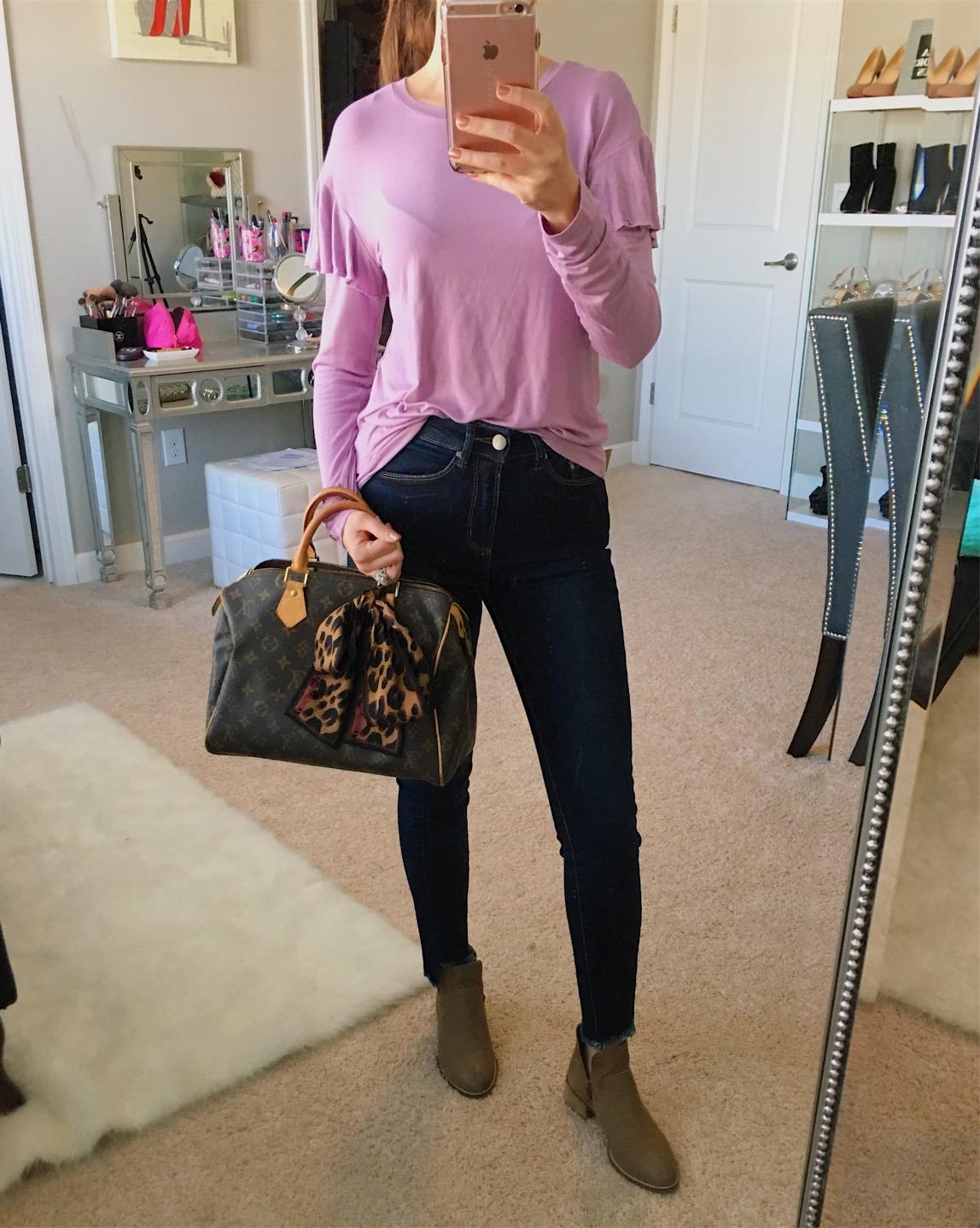 November Instagram Outfits Recap| BP ruffle top, AFRM jeans, Seychelles boots, seychelles dwelling bootie