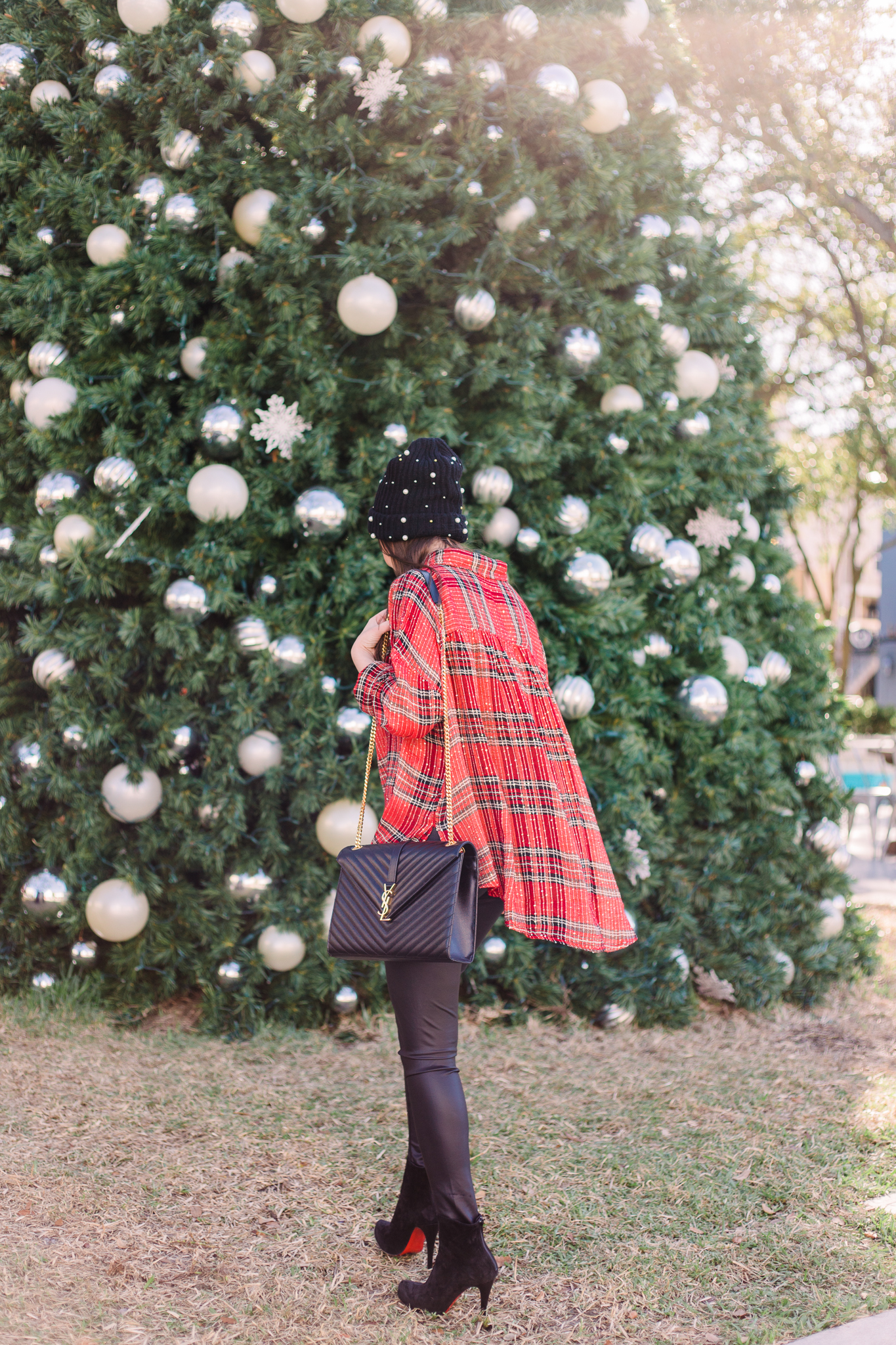 Free people plaid shirt for the Holidays, free people Fearless Love Bell Sleeve Shirt, bp pearly stud beanie, faux leather leggings, ysl handbag, louboutin suede booties, louboutin boots, red plaid shirt, sparkly plaid shirt