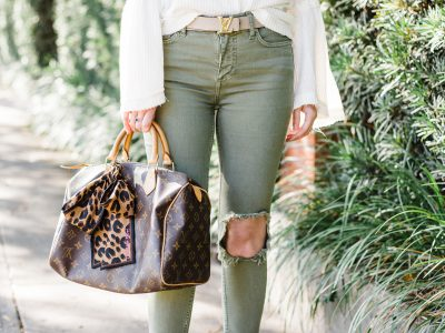 How to look skinny when you're not, Free people busted knee skinny jeans, olive green jeans, Free people Dahlia thermal top, Louis Vuitton Belt, Louis Vuitton speedy 30, Christian Louboutin Iriza, free people bell sleeve top, how to look skinnier, how to look skinny, white and olive green outfit