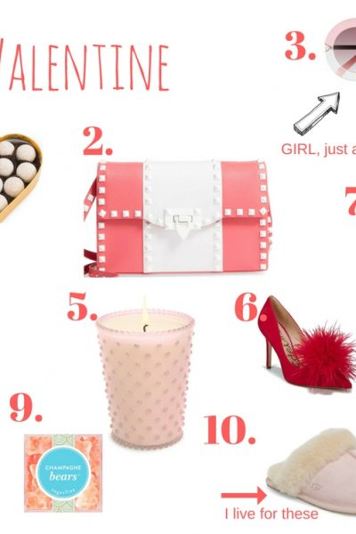 """What to buy your girlfriend for Valentine's Day,Prada """"Candy"""" perfume,Ugg slippers,Sugarfina champagne bears,'Cuddle Up' Faux Fur Heart Accent Pillow,Hanky Panky 3 pack thongs,Sam Edelman """"Haide feather pompom pump"""",Simpatico glass candle,Jersey robe,Oversize oval sunglasses,Valentino Handbag,Charbonnel et Walker pink champagne truffles"""