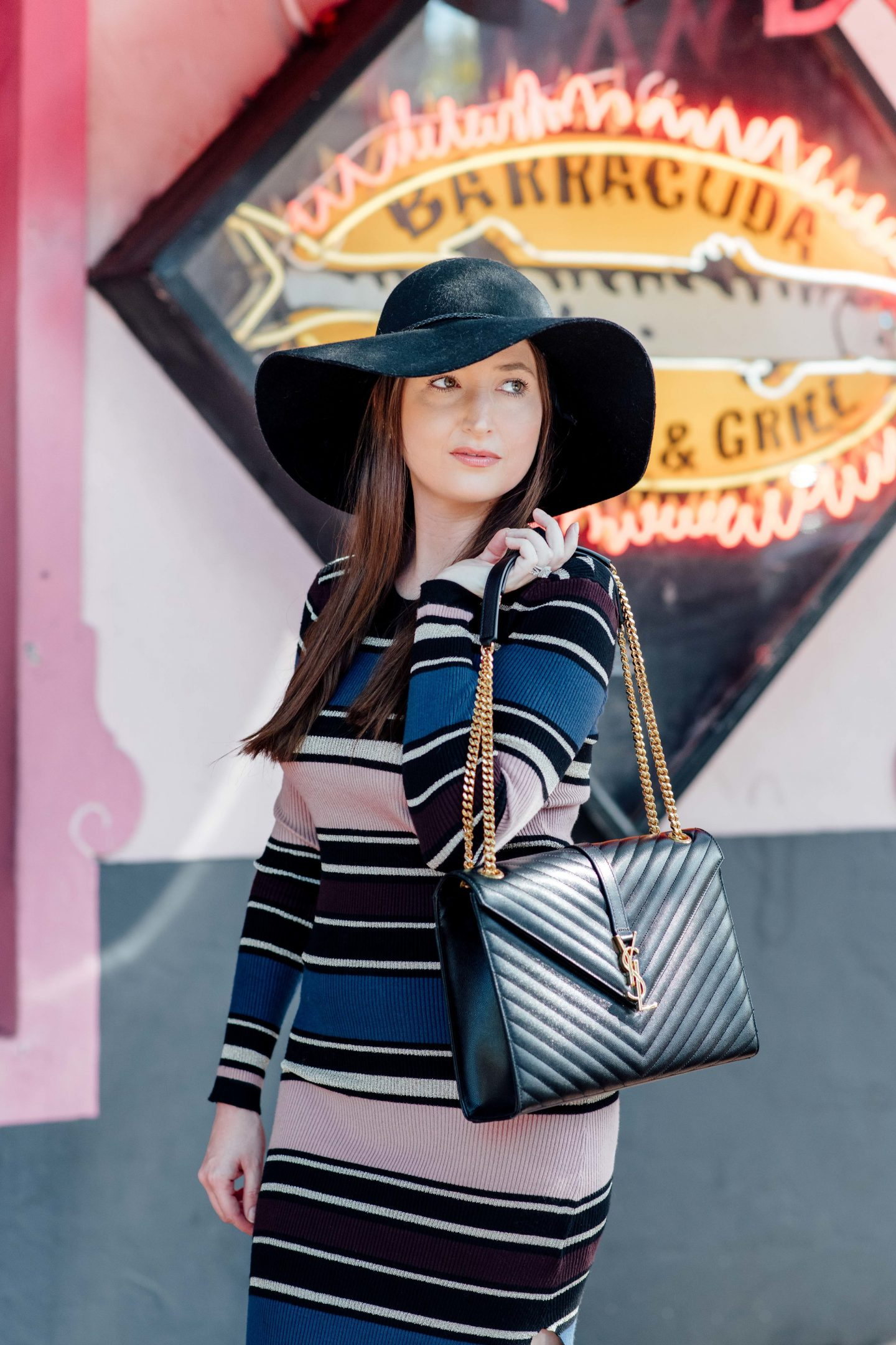 Cupcakes and cashmere sweater dress, sweater dress, striped sweater dress, Cupcakes and Cashmere barrow stripe midi dress, Halogen wool floppy hat, Valentino rockstuds noir, Valentino rockotuds kitten heel, black Valentino rockotuds, YSL large monogram shoulder bag