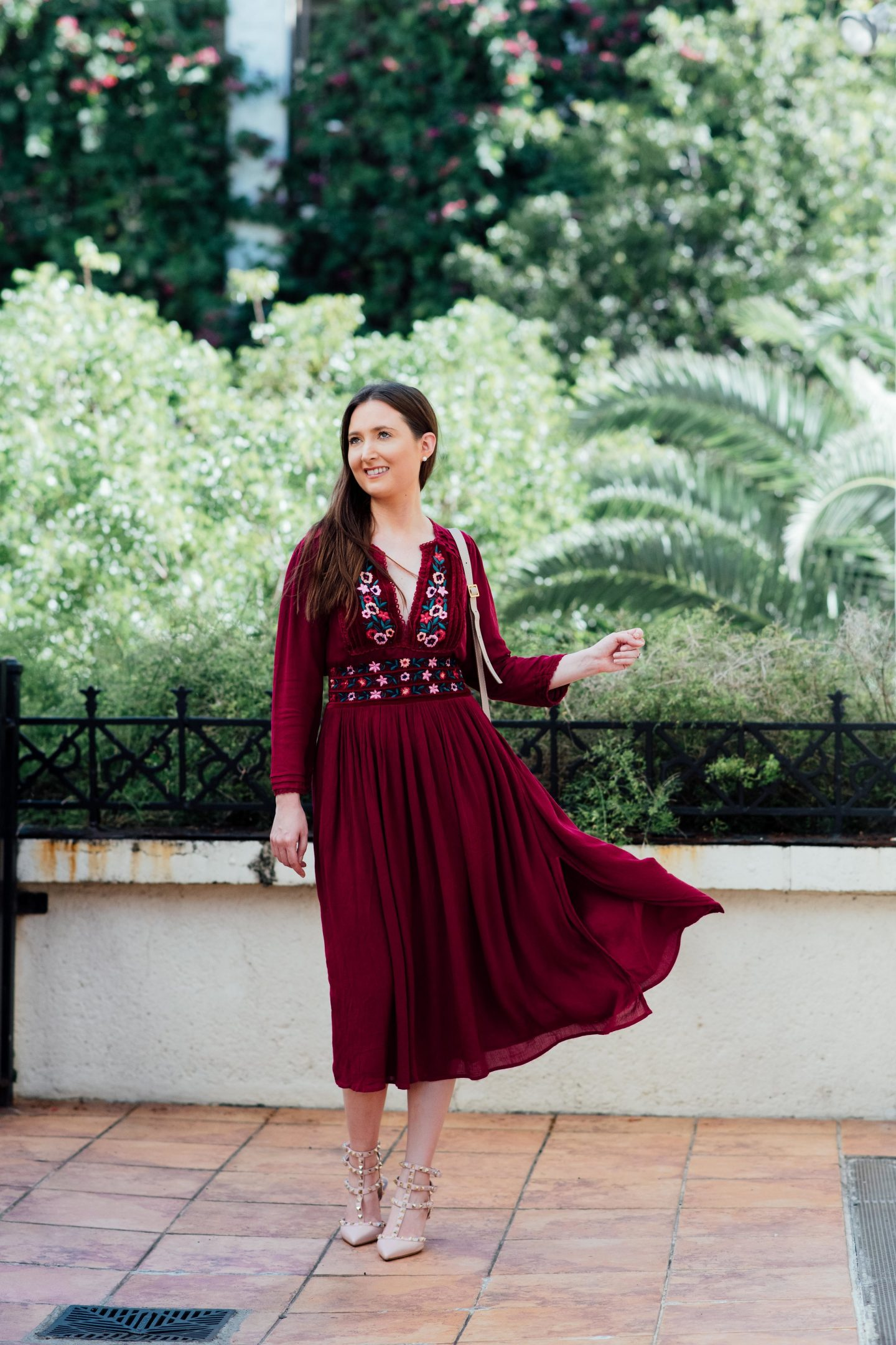 My honest thoughts on living in Miami, Free people flora midi dress, Chloe Marcie mini, Valentino rockstuds kitten heels, pink Valentino rockstuds, free people velvet dress, romantic dress, mid length dress, free people floral midi dress