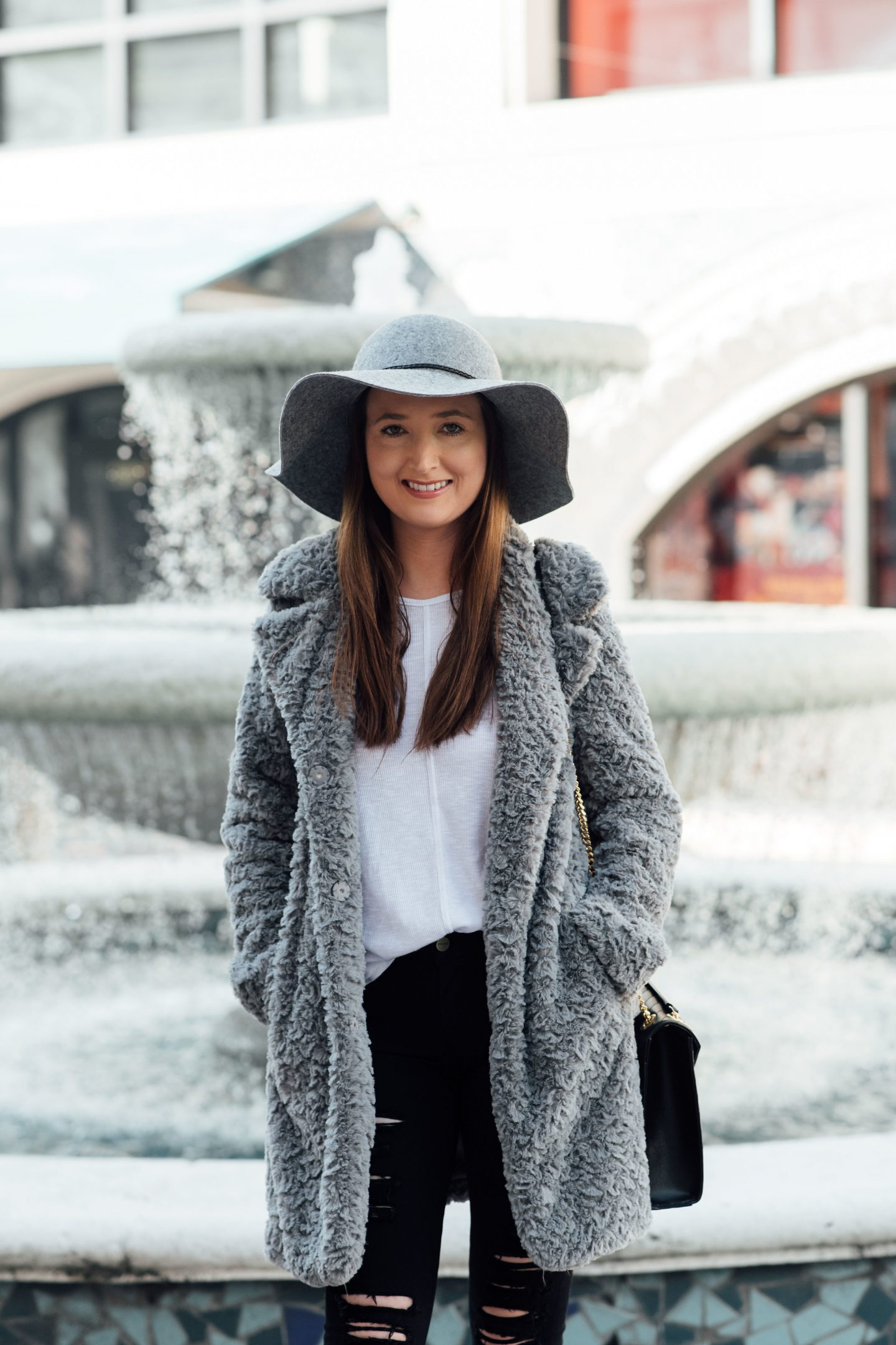 cute winter outfits, best stores to shop for cute winter outfits, teddy coat, grey teddy coat, monochromatic look
