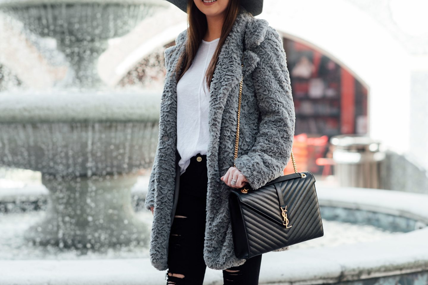 Best faux fur coats 2018, faux fur coat, grey fur coat, grey faux fur coat, faux fur coat trend, ysl bag, ysl shoulder bag, black ripped jeans, Gucci mules, Gucci glitter mules, how to style faux fur, stylish faux fur