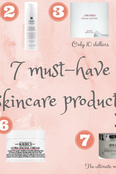 7 must have skincare products, SK II facial treatment essence, Kiehl's hydro plumping serum:, ShiseidoFacial cotton, Mario Badescu Facial Spray, Shiseido perfect cleansing oil, Kiehl's ultra facial cream, It cosmeticsbye bye makeup remover