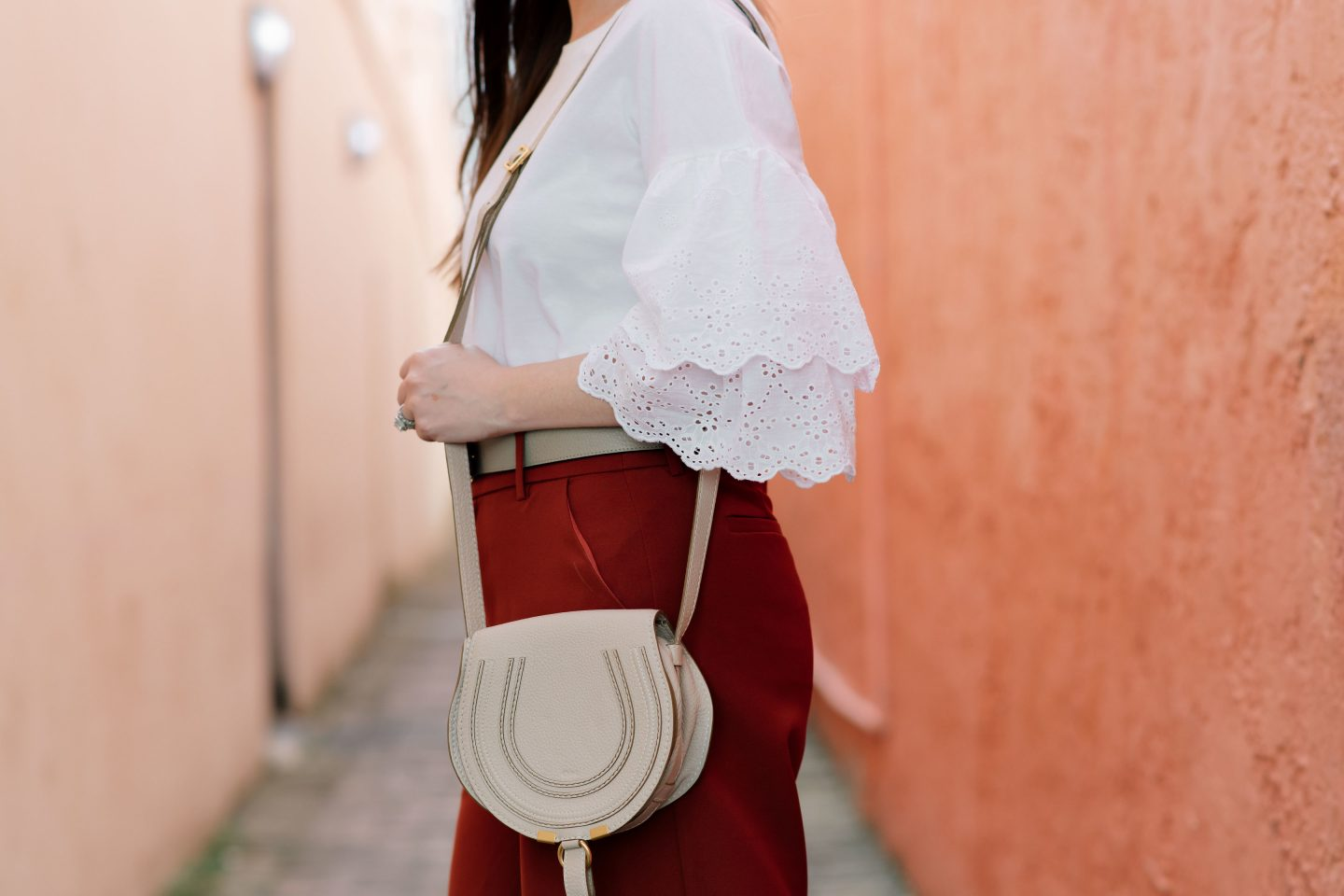 Don't build a wardrobe around a fantasy lifestyle,Topshop eyelet tee, Moon river crop pants, Chloe Marcie mini handbag, Louis Vuitton belt, Vince Camuto peep toe booties, spring outfit 2018