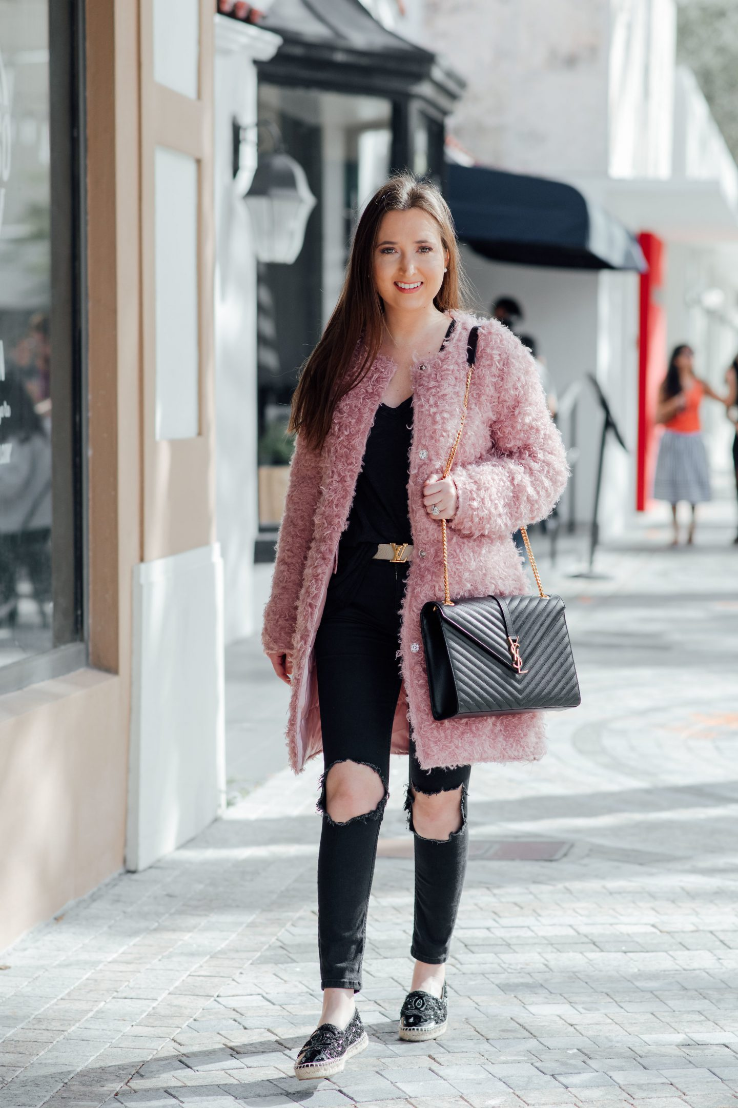 cute winter outfits, best stores to shop for cute winter outfits, pink teddy coat, ysl cassandre bag