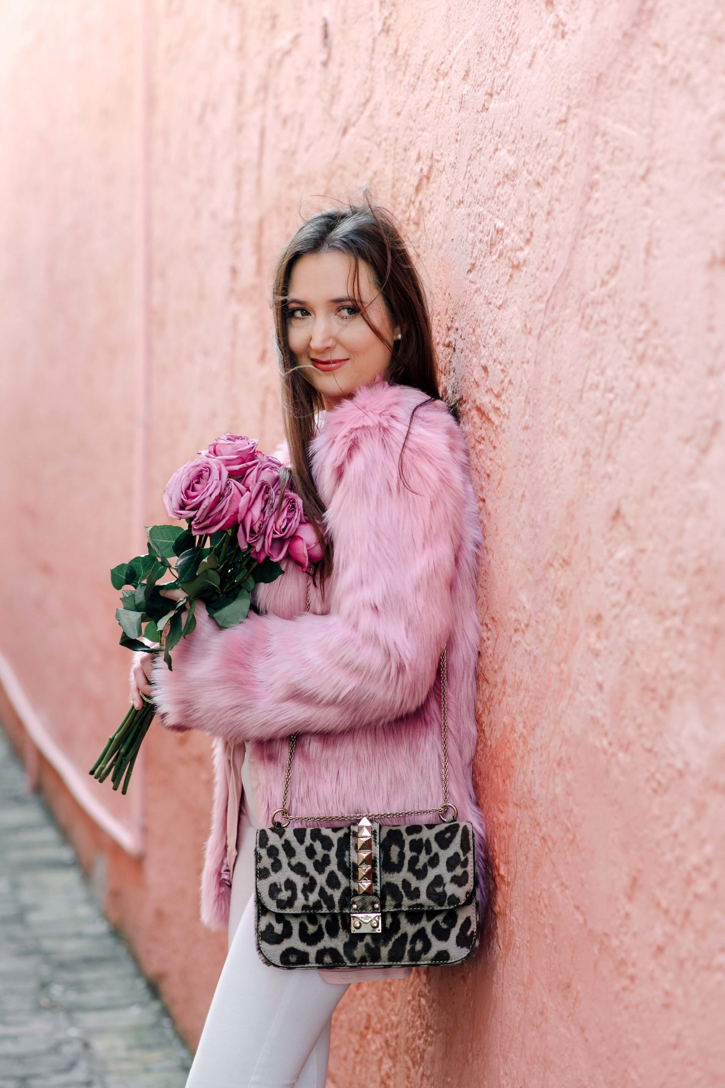 cute winter outfits, best stores to shop for cute winter outfits, asos pink fur jacket, valentino glam lock