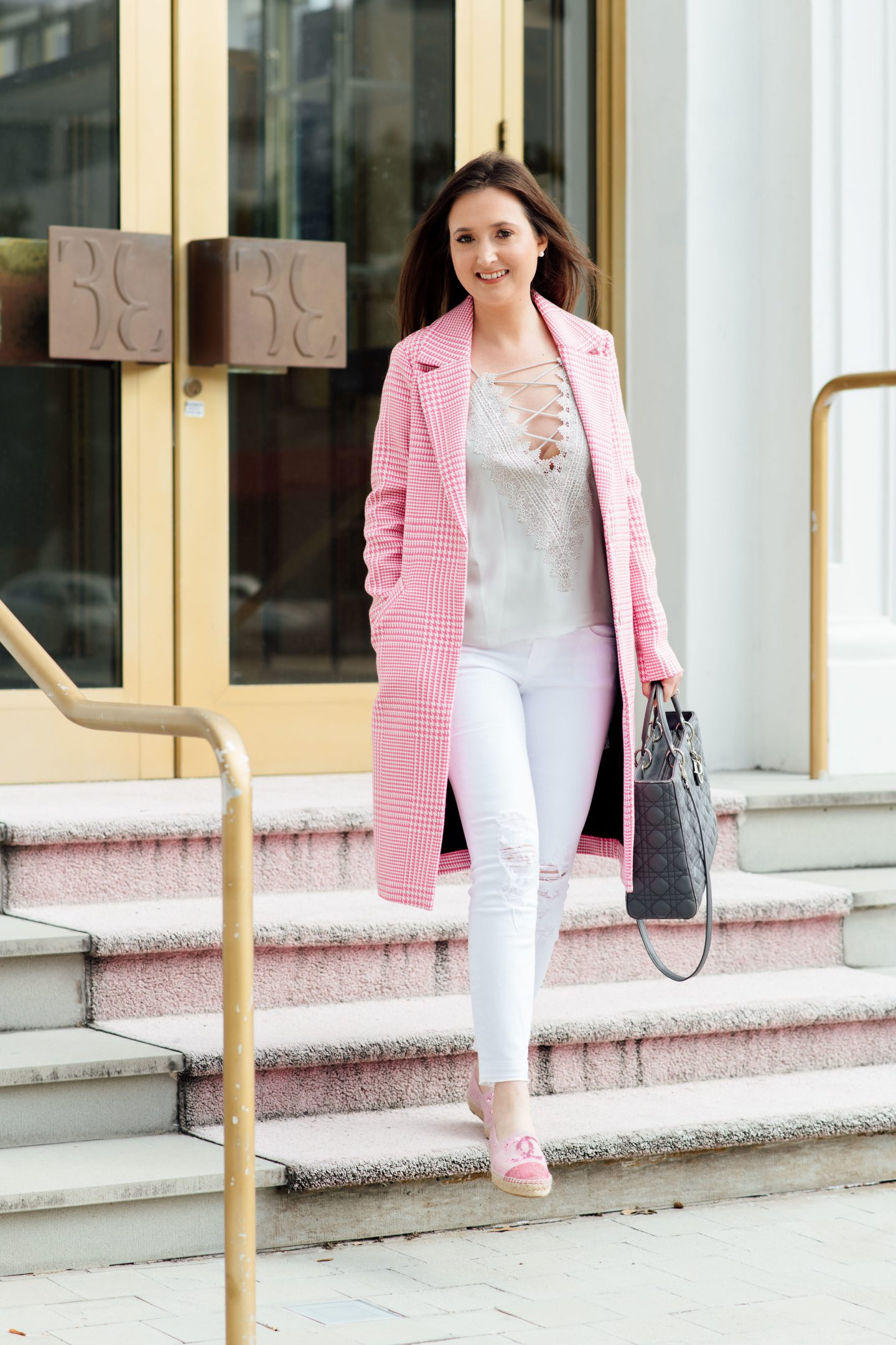 5 wardrobe essentials that will get you excited to start your day, wardrobe essentials, WAYF posie came, wayf camisole, pink trench coat, asos coat, white jeans, pink checkered coat, lady Dior, lady Dior medium, Chanel espadrilles, espadrilles, Miami fashion blogger, fashion blogger