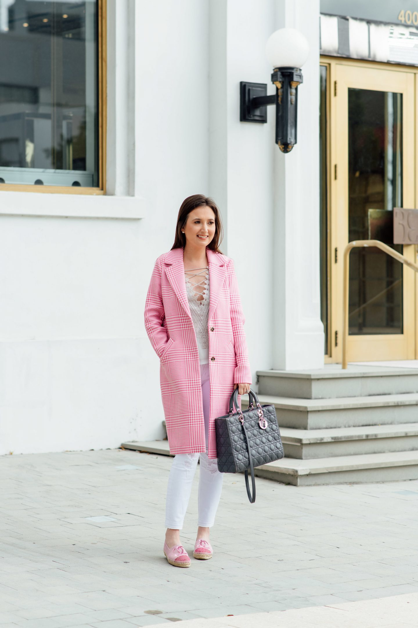 5 wardrobe essentials that will get you excited to start your day, wardrobe essentials, WAYF posie came, wayf camisole, pink trench coat, asos coat, white jeans, pink checkered coat, lady Dior, lady Dior large, Chanel espadrilles, espadrilles, Miami fashion blogger, fashion blogger