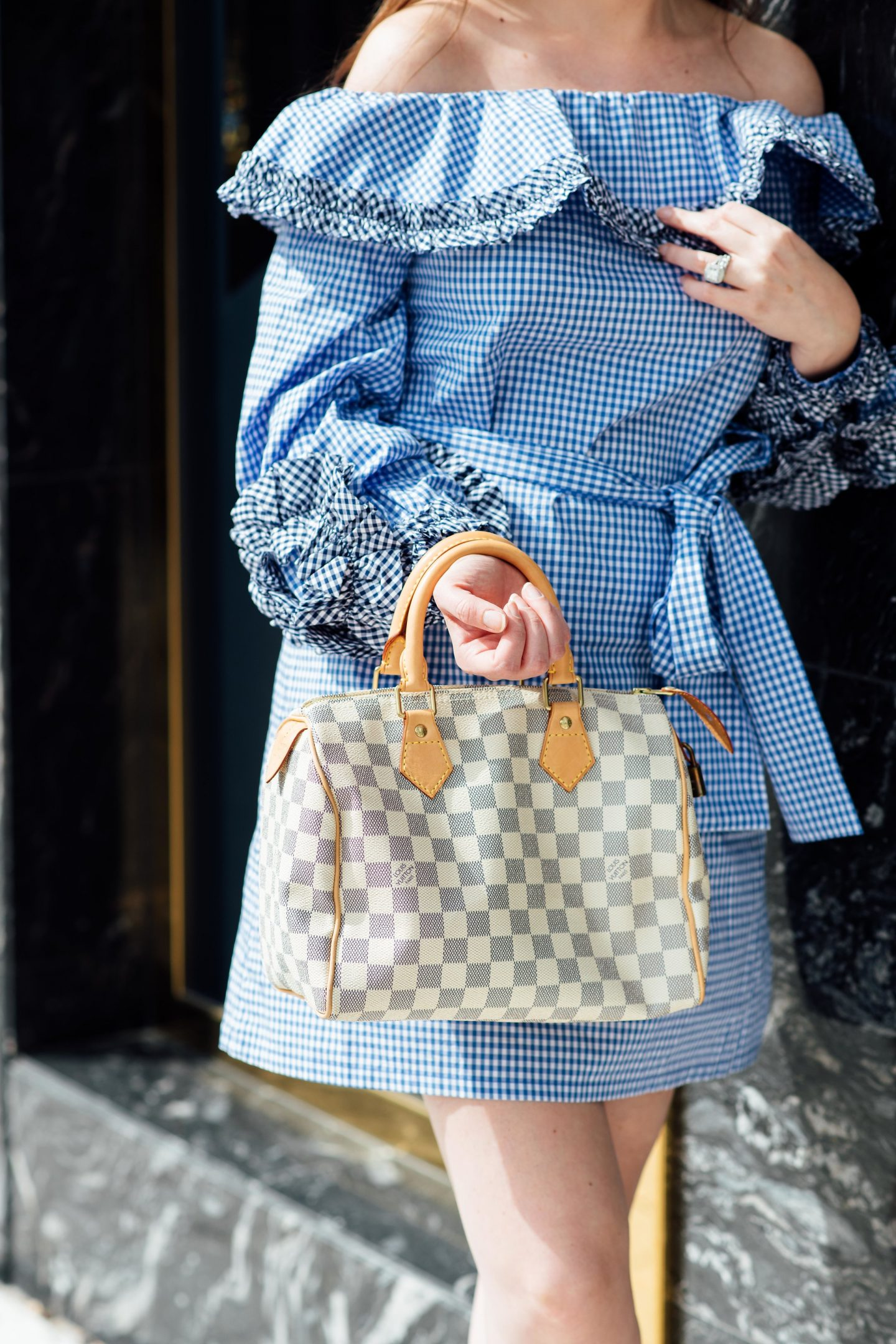 Going crazy for Gingham, gingham dress, Alexis dress, Marc fisher Alida wedges, Marc fisher wedges, Louis Vuitton speedy Azur, summer fashion 2018, blue and white checkered dress