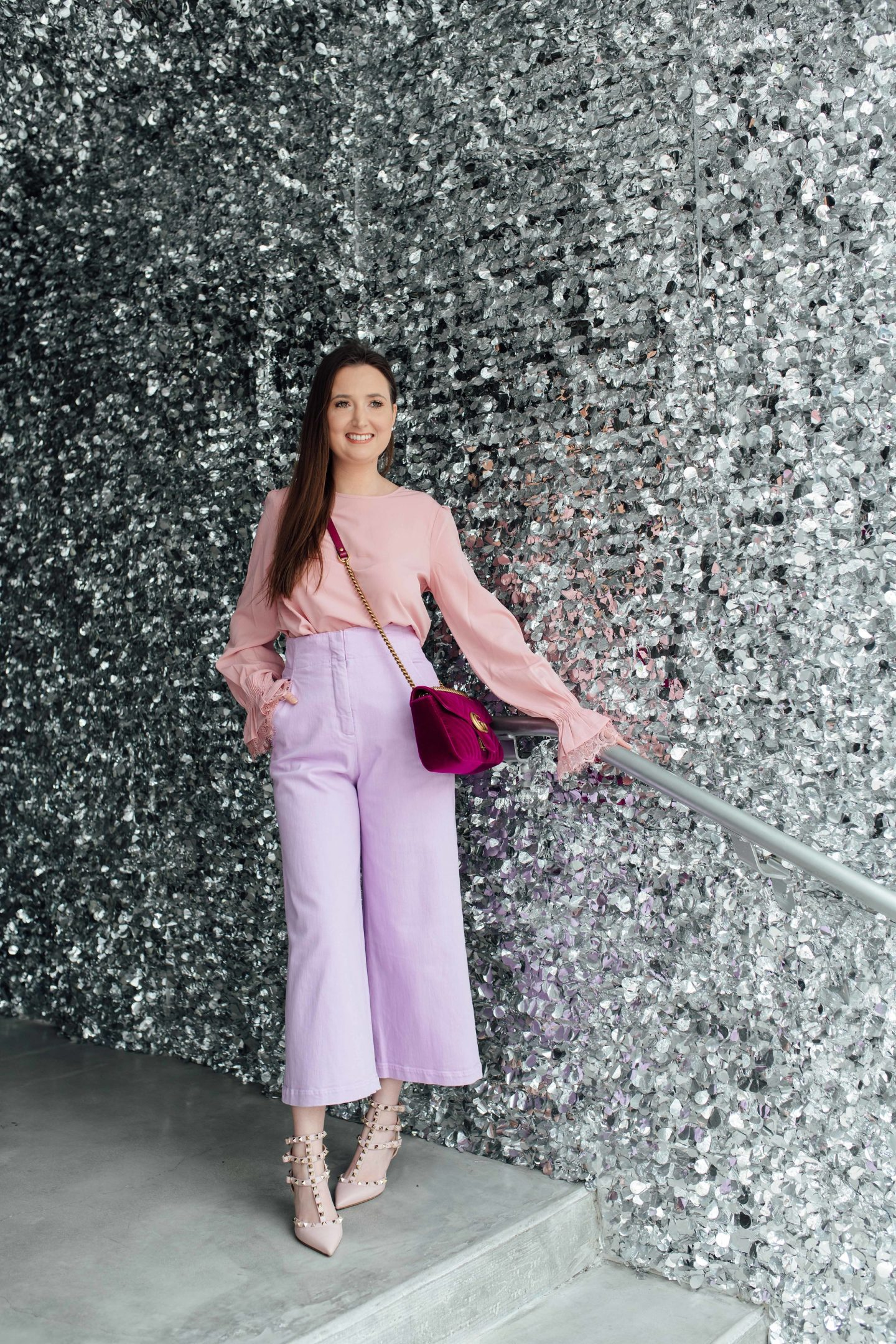 5 SIGNS YOU NEED GLAMOUR IN YOUR LIFE, Asos pink top, ASOS, Tibi lavender pants, lavender 2018, Valentino rockstudskitten heels, Gucci Marmontsmall velvet