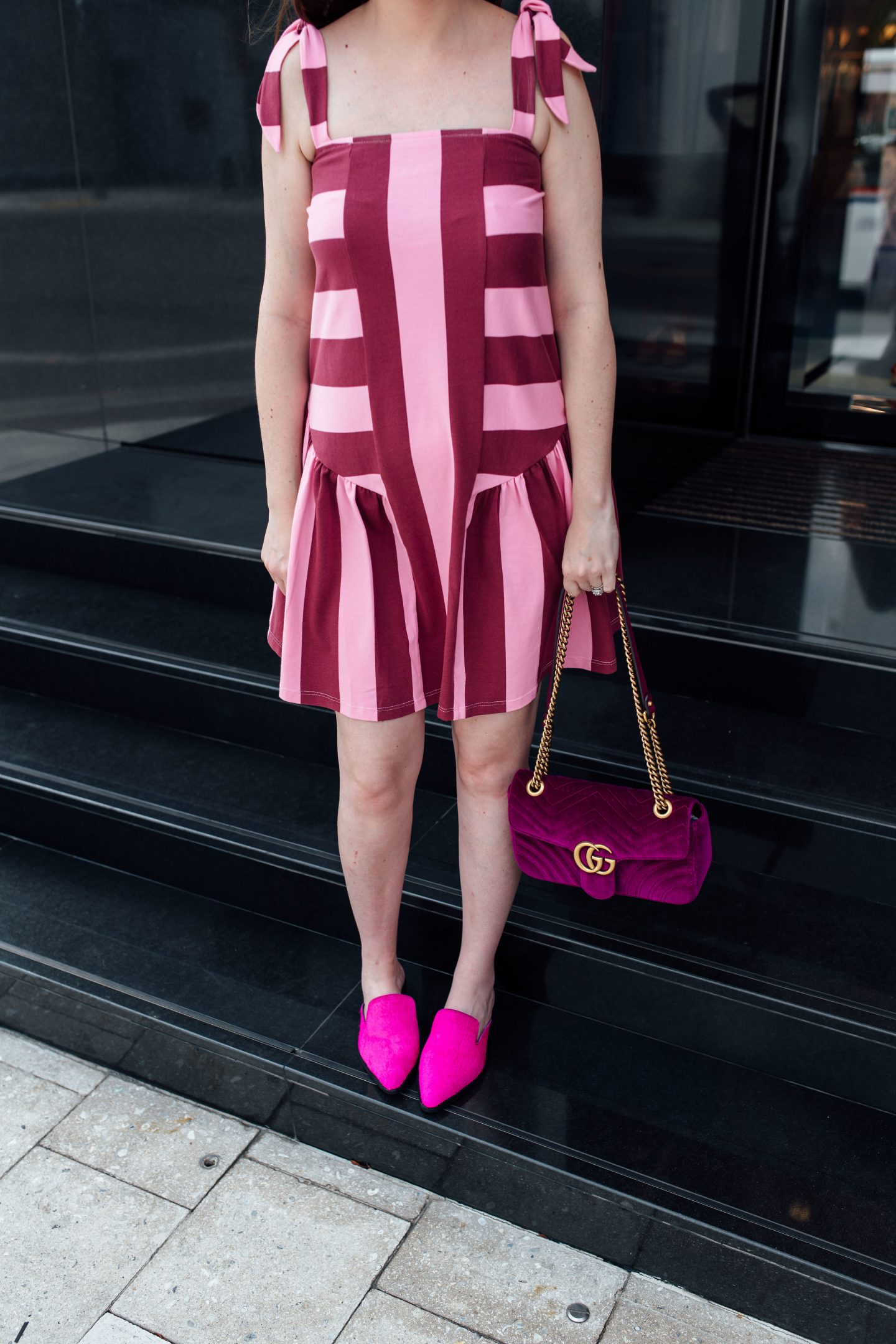 5 FASHION TRENDS WORTH BREAKING THE BANK, Gucci marmont small velvet, Gucci marmont fuchsia bag, Gucci marmont velvet small bag, striped dress, pink and purple dress, pink mules, hot pink mules, asos dress, asos striped dress, spring fashion 2018, summer fashion 2018, fashion inspiration 201i8