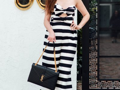How to style a jumpsuit & everything you need to know, how to style a jumpsuit, Black and white striped jumpsuit, YSL monogram handbag, Marc Fisher wedges, Marc fisher Alida wedges, ASOS bow jumpsuit, bow jumpsuit for women, black and white striped jumpsuit for women