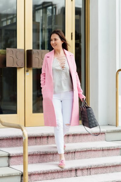 5 wardrobe essentials that will get you excited to start your day, wardrobe essentials, WAYF posie came, wayf camisole, pink trench coat, asos coat, white jeans, pink checkered coat, lady Dior, lady Dior medium, Chanel espadrilles, espadrilles