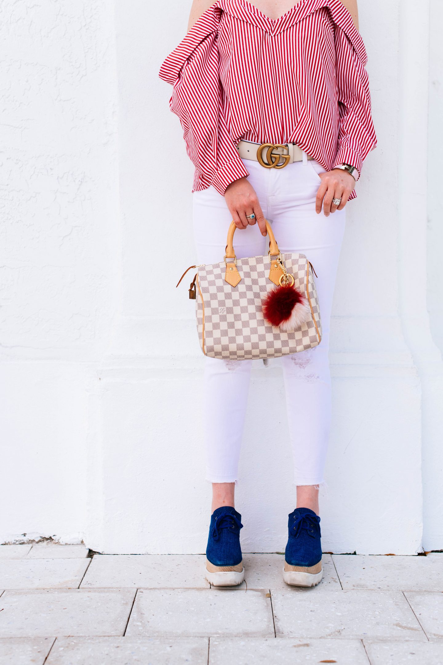 What to wear on 4th of July that's cute and casual, Bardot striped top, still McCartney sneakers, Louis Vuitton speedy 25, Louis Vuitton speedy 25 damier Azur, j brand cropped skinny jeans, Gucci marmont belt white, white Gucci belt, platform denim sneakers