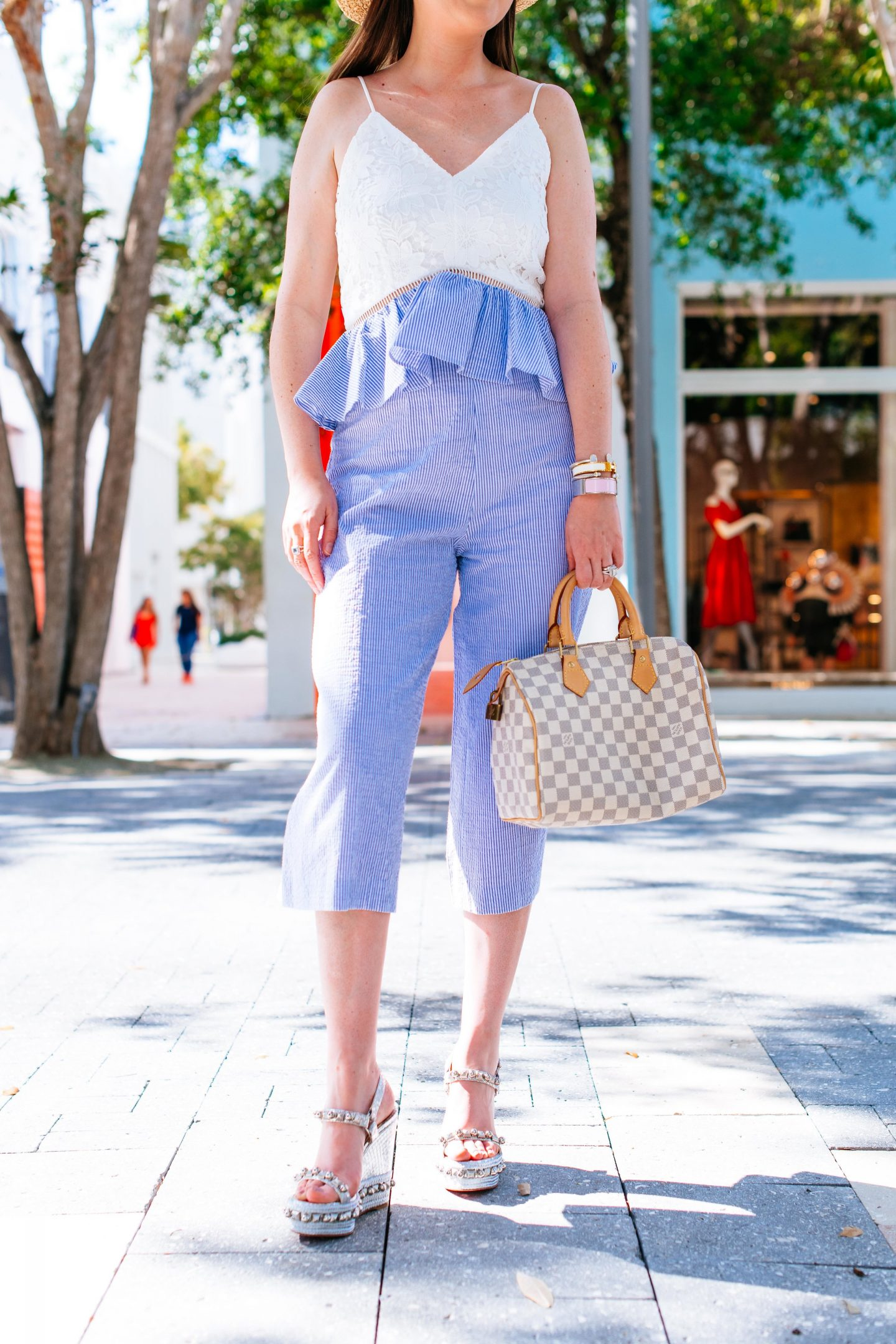 7 SUMMER FASHION HACKS TO BEAT THE HEAT, summer fashion hacks, romper, Louis Vuitton speedy damier Azur, seersucker romper, summer fashion 2018, louboutin cataclou