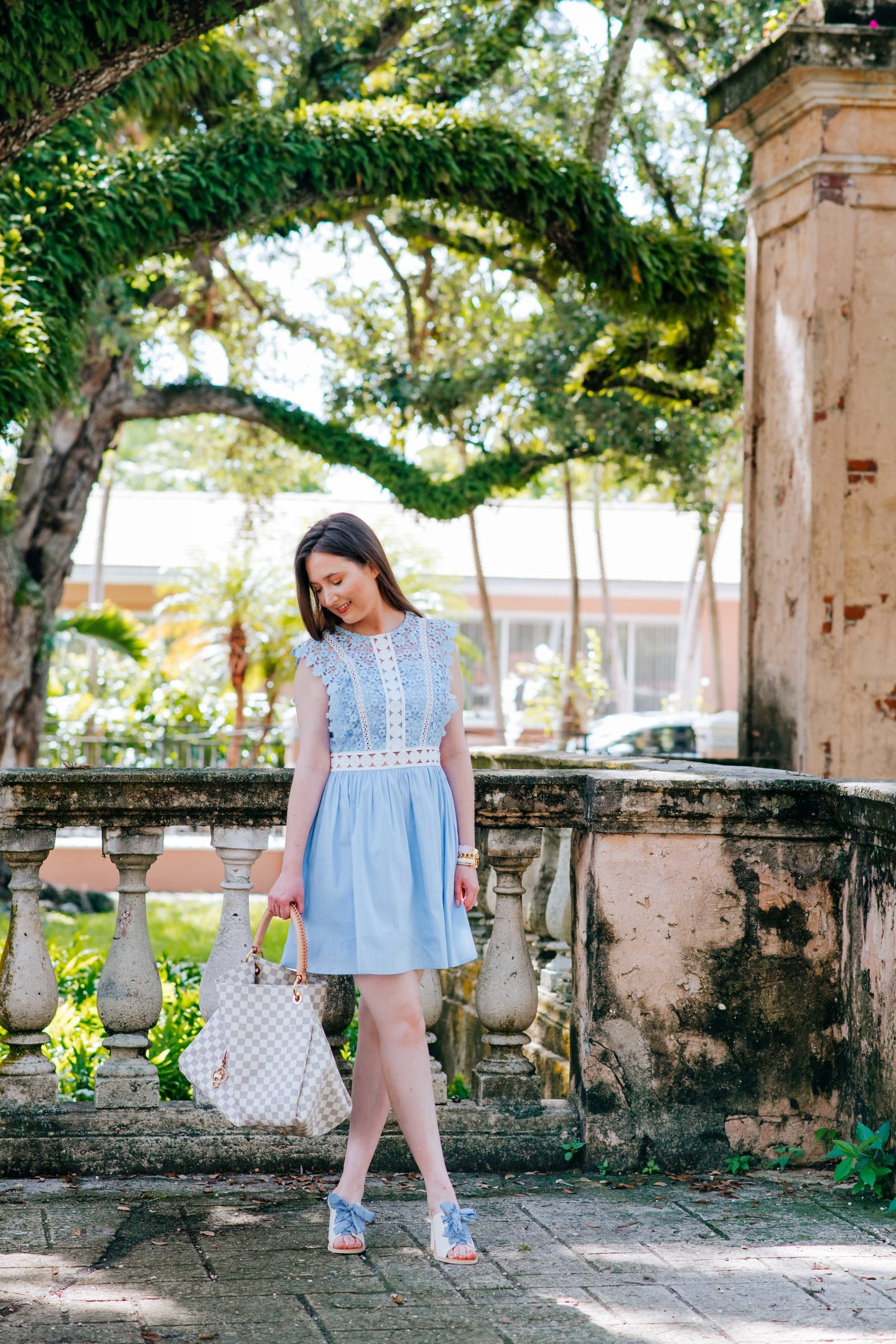 Bloomingdales, bloomingdales dress, Bloomingdales finds: the cutest outfits for the best prices, aqua, aqua at bloomingdales, AQUA Lace & Poplin Fit-and-Flare Dress, dolce vita shoes, dolce vita amber lace-up sandal, dolce vita bow sandals