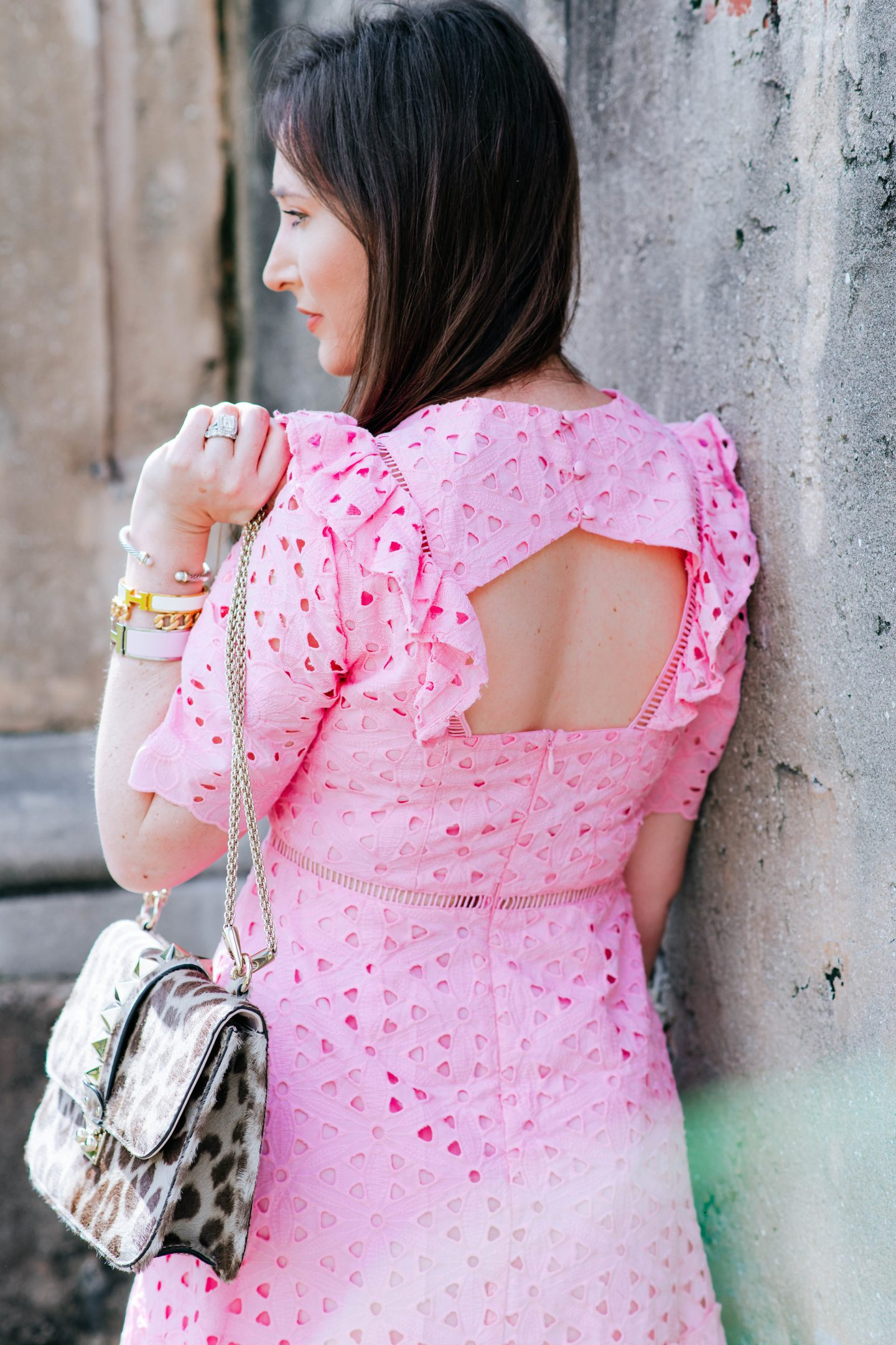 How to mix high and low fashion, gift card giveaway, revolve clothing, asos pink dress, valentino glamlock bag, gucci marmont loafers, high and low fashion, how to style high and low fashion, chanel liquid lipstick, pink eyelet dress, affordable dresses, high end accessories, how to mix high and low end fashion