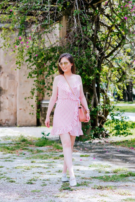 How to wear a polka dot dress: Pink polka dot outfit