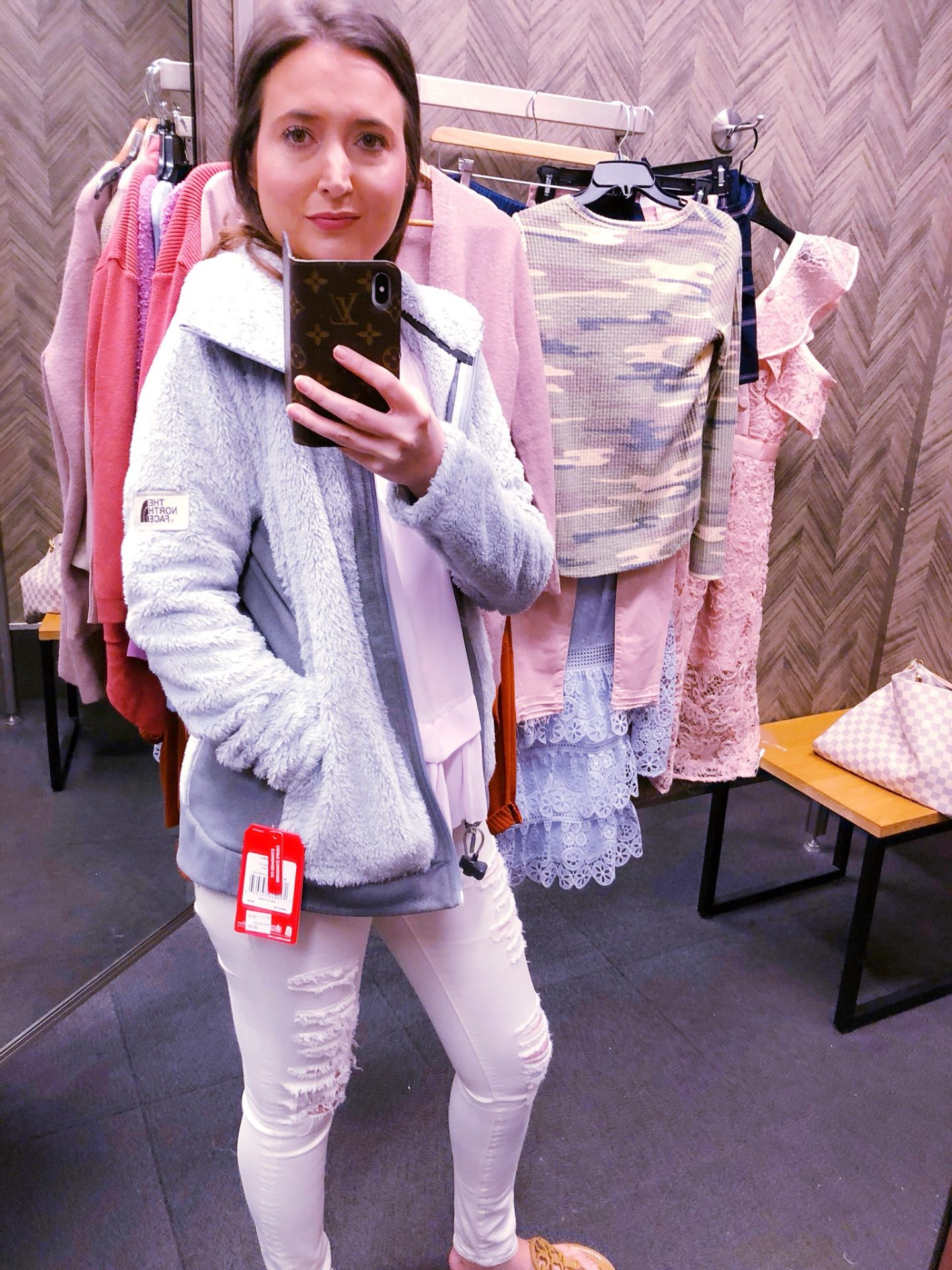 The North Face furry fleece jacket, Nordstrom anniversary sale, Nordstrom anniversary sale 2018, Nordstrom anniversary sale haul, Nordstrom anniversary sale dressing room try-on