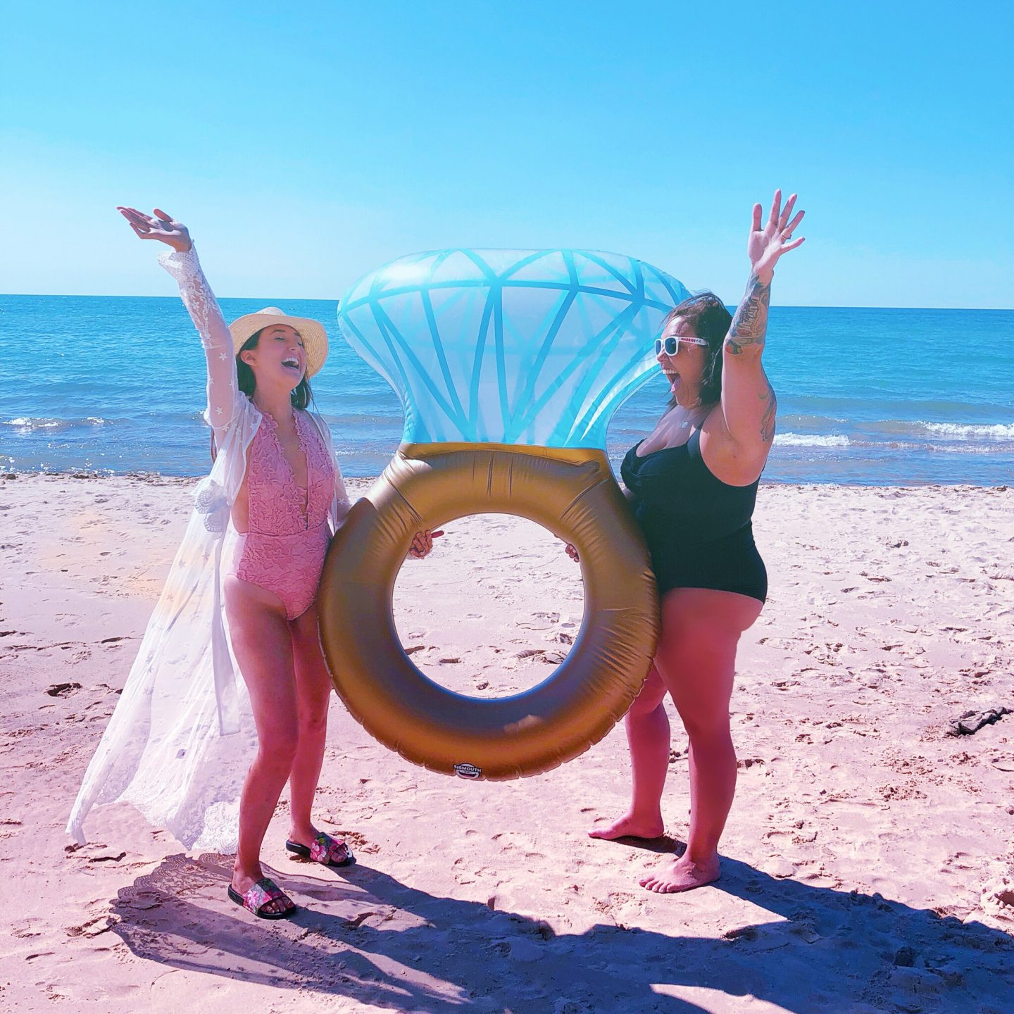 Bachelorette party that's affordable and fun, lake michigan, diamond floatie, bachelorette party, union pier michigan, diamond ring pool float