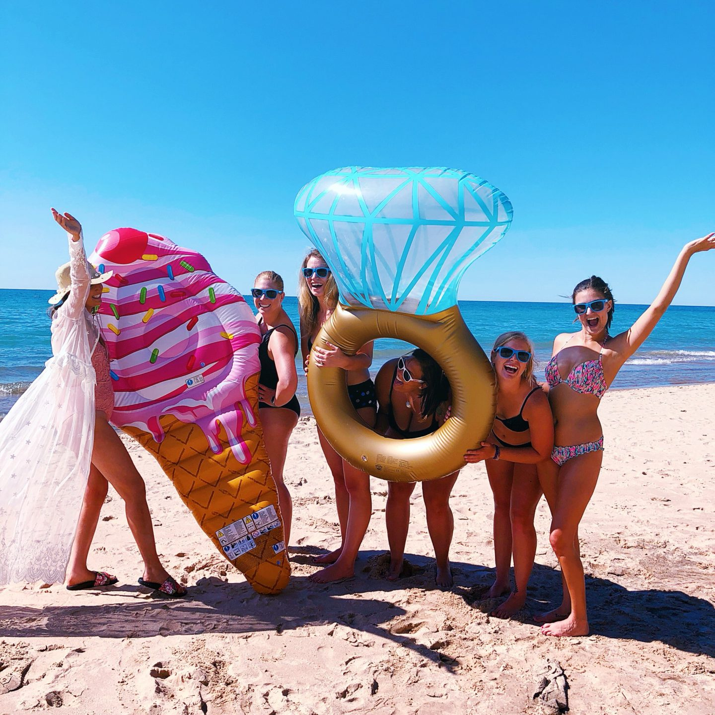 Bachelorette party that's affordable and fun, lake michigan, union pier michigan, michigan bachelorette part, diamond ring floatie, ice cream pool floatie, affordable bachelorette party