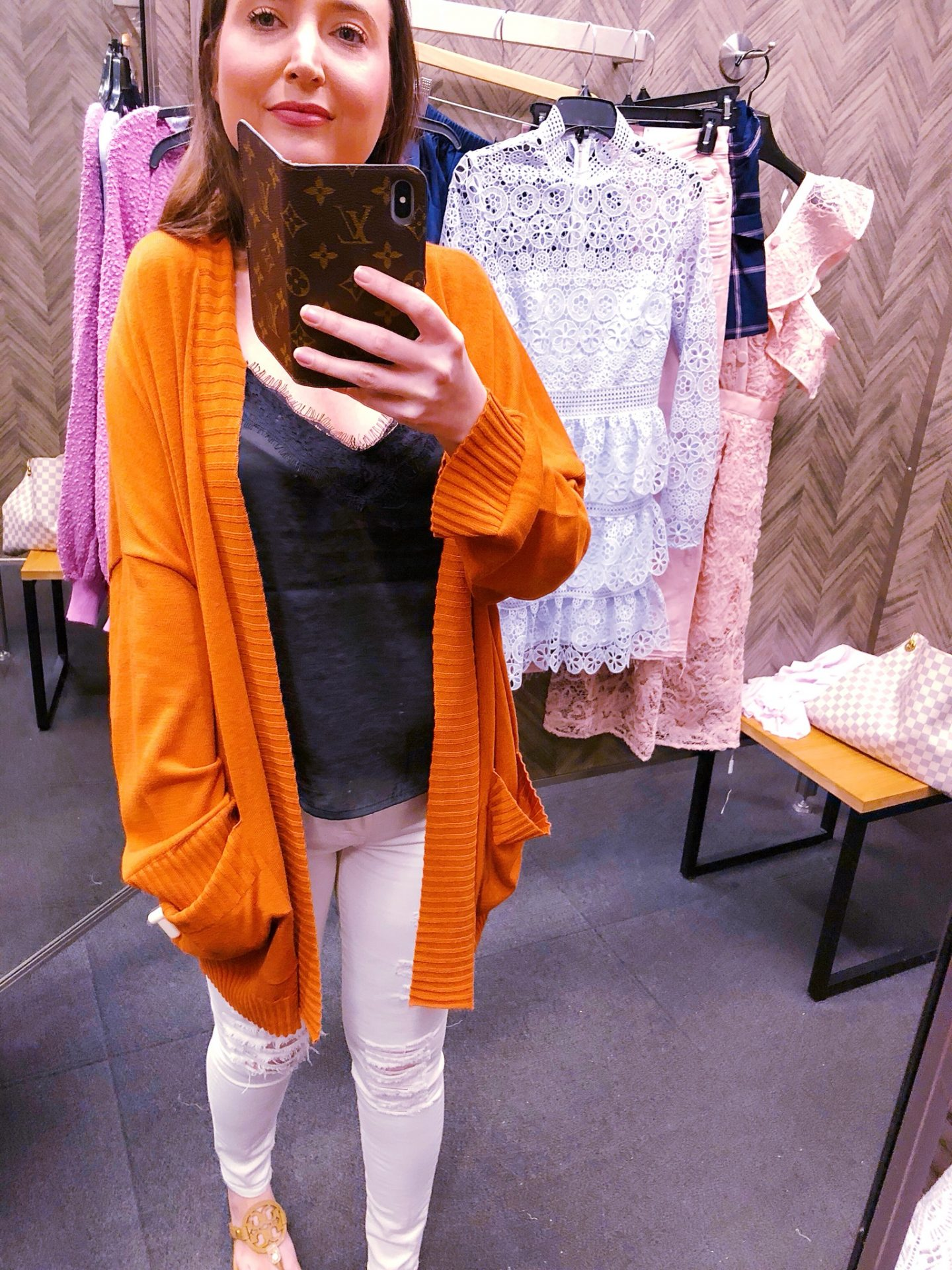 chelsea28 oversize open cardigan, chelsea28 cardigan, rustic orange cardigan, Nordstrom sale lace cami, Nordstrom anniversary sale, Nordstrom anniversary sale 2018, Nordstrom anniversary sale haul, Nordstrom anniversary sale dressing room try-on