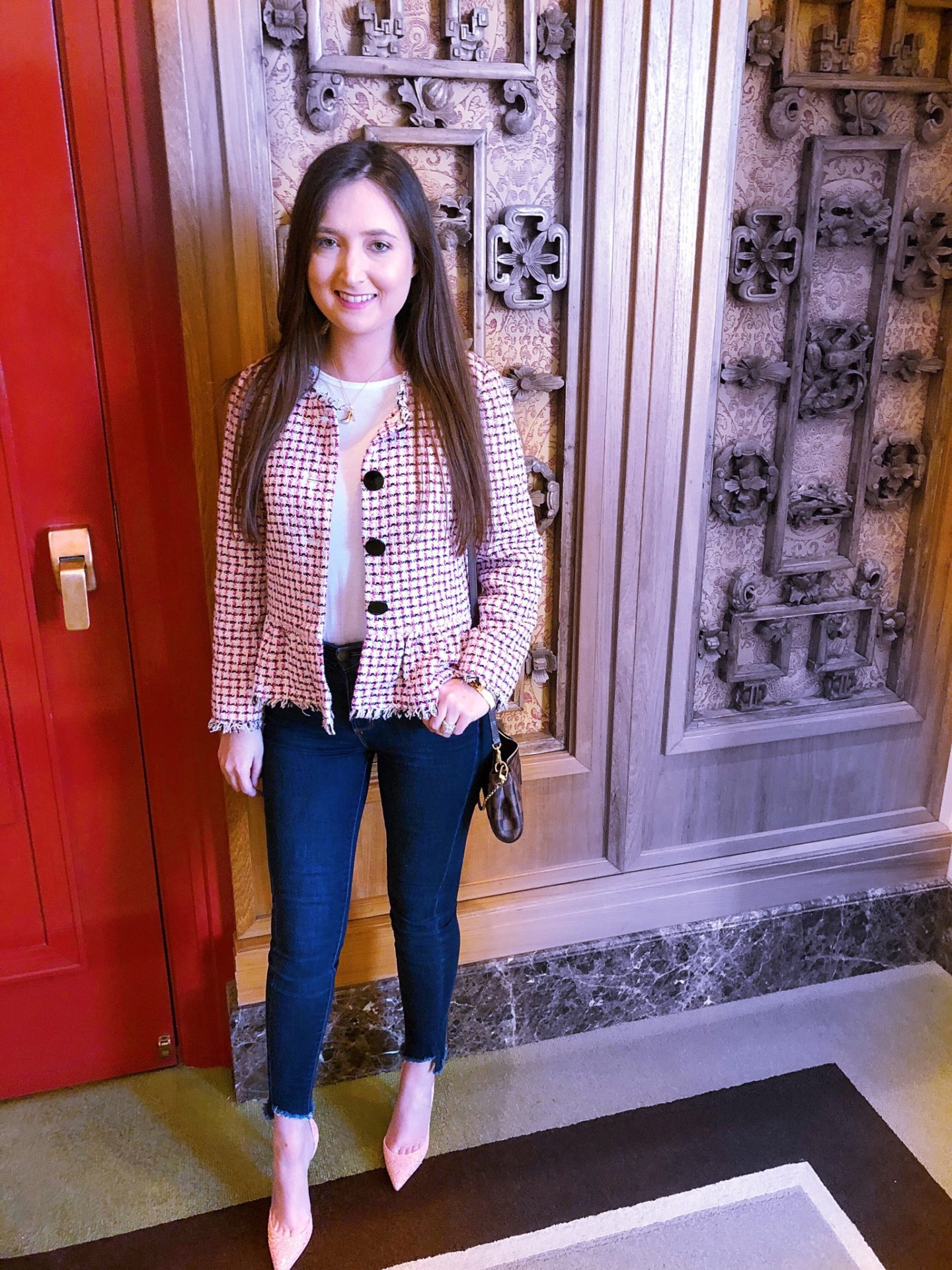 The Peninsula Chicago, the peninsula hotel chicago, kate spade tweed jacket, louboutin iriza, travel blogger, travel fashion blogger, travel blog 2018