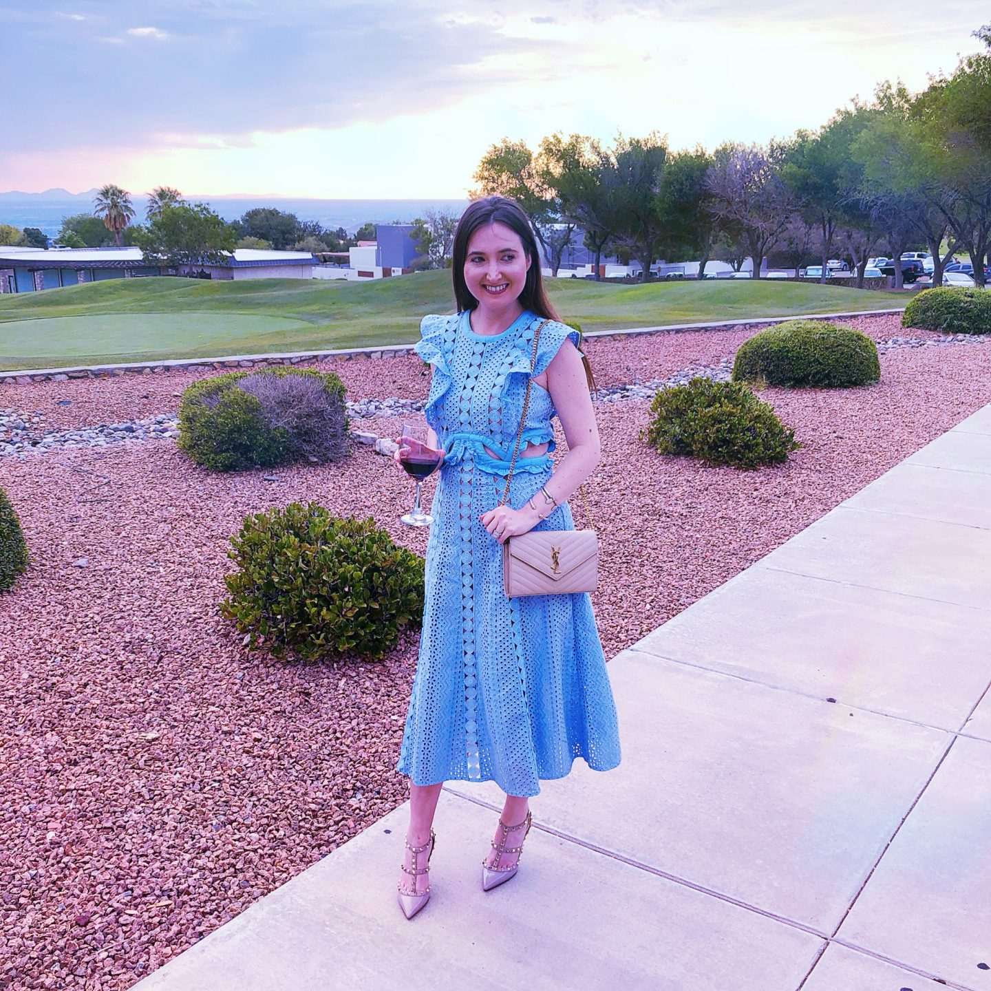 A wedding weekend in El Paso Texas, travel to el paso, el paso texas, self portrait dress, self portrait blue lace dress, saint laurent wallet on chain, ysl wallet on chain, mountains in el paso, el paso travel, el paso travel guide, what to do in el paso, what to wear in el paso, el paso travel