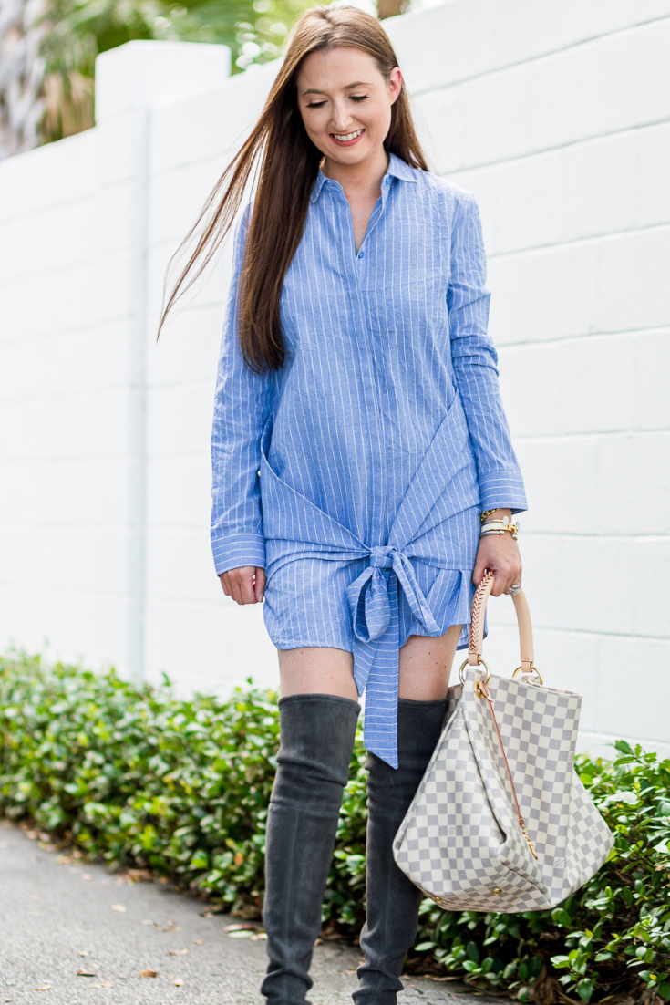 what to wear in fall when its hot, what to wear in fall when its warm, fall fashion 2018, fall fashion in warm weather, fall fashion when its hot, hot fall, louis vuitton artsy, louis vuitton artsy damier azur, pinstriped dress, otk boots, stuart weitzman otk boots, fall outfit