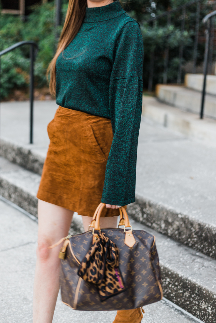 Sparkly green sweater and suede skirt, sparkly sweater, sparkly green sweater, blanknyc suede skirt, blanknyc suede miniskirt, vionic Ronnie booties, Louis Vuitton speedy 30, asos, green and camel outfit, fall outfit, fall outfit 2018, what to wear in fall, camel suede skirt, louis vuitton leopard bandeau