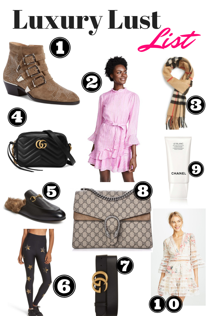 luxury lust list, designer wishlist, chloe susanna boots, saloni pink dress, burberry cashmere scarf, gucci dionysus medium, ultracor leggings, ultracor star leggings, zimmermann dress, gucci marmont belt, chanel foaming cleanser