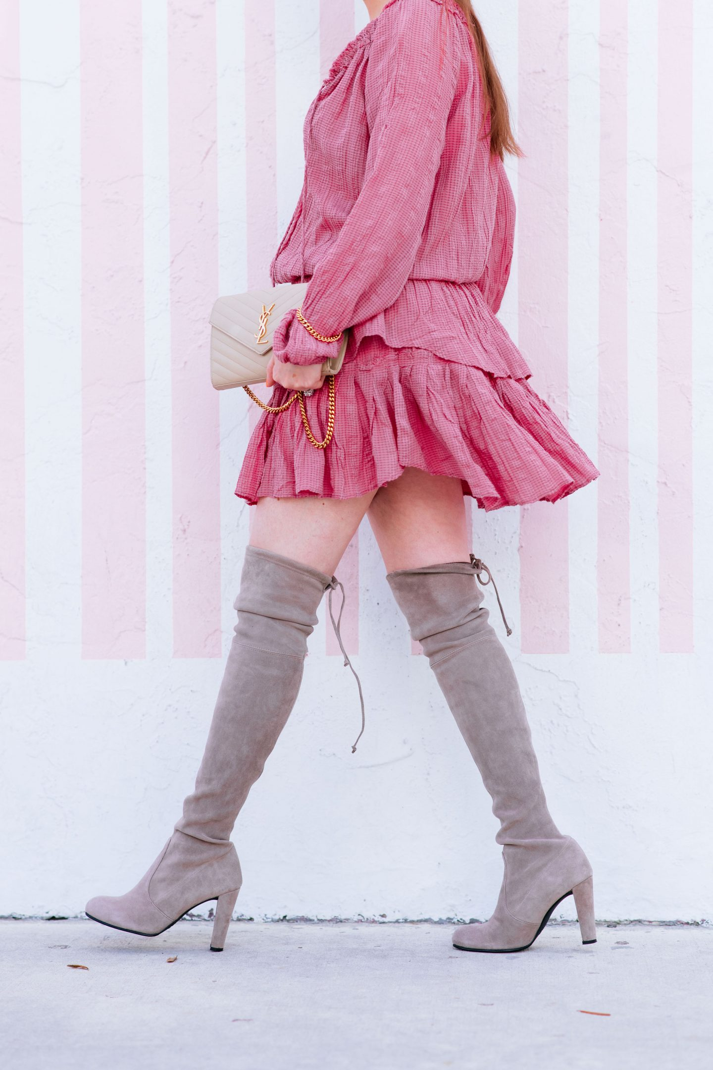 Best way to wear over the knee boots without looking trashy, over the knee boots, loveshackfancy popover dress, loveshackfancy pink popover dress, stuart weitzman hiline boots, stuart weitzman nude boots, ysl wallet on chain, how to wear over the knee boots