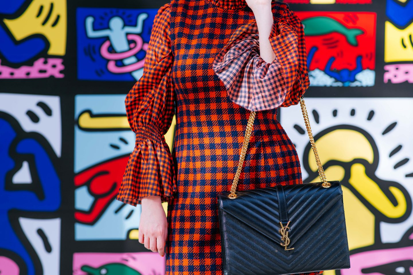 sea new york orange check, sea ethno pop dress, flannel dress, plaid dress, ysl cassandre bag, ysl shoulder bag, sea new york plaid dress, sea new york dress, alice and olivia wall