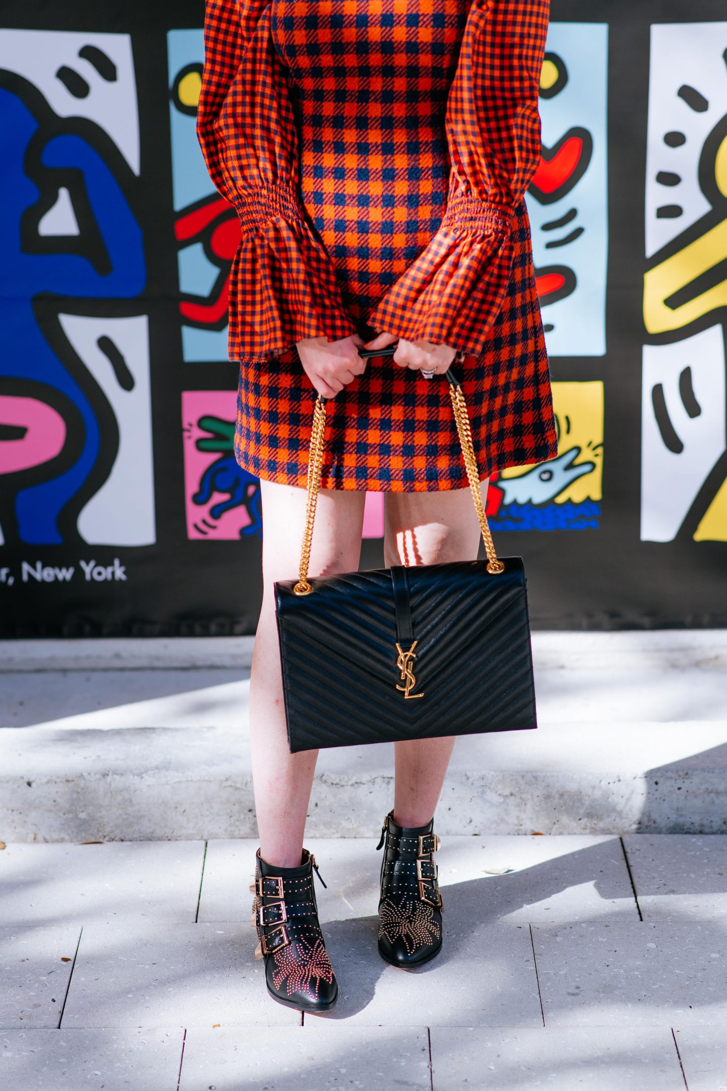 sea new york orange check, sea ethno pop dress, flannel dress, plaid dress, ysl cassandre bag, ysl shoulder bag, chloe sussanna dupes, dupes for chloe susanna boots, sea new york plaid dress, sea new york dress, alice and olivia wall, ruffle plaid dress, ruffle sleeves plaid, ruffle sleeves flannel dress