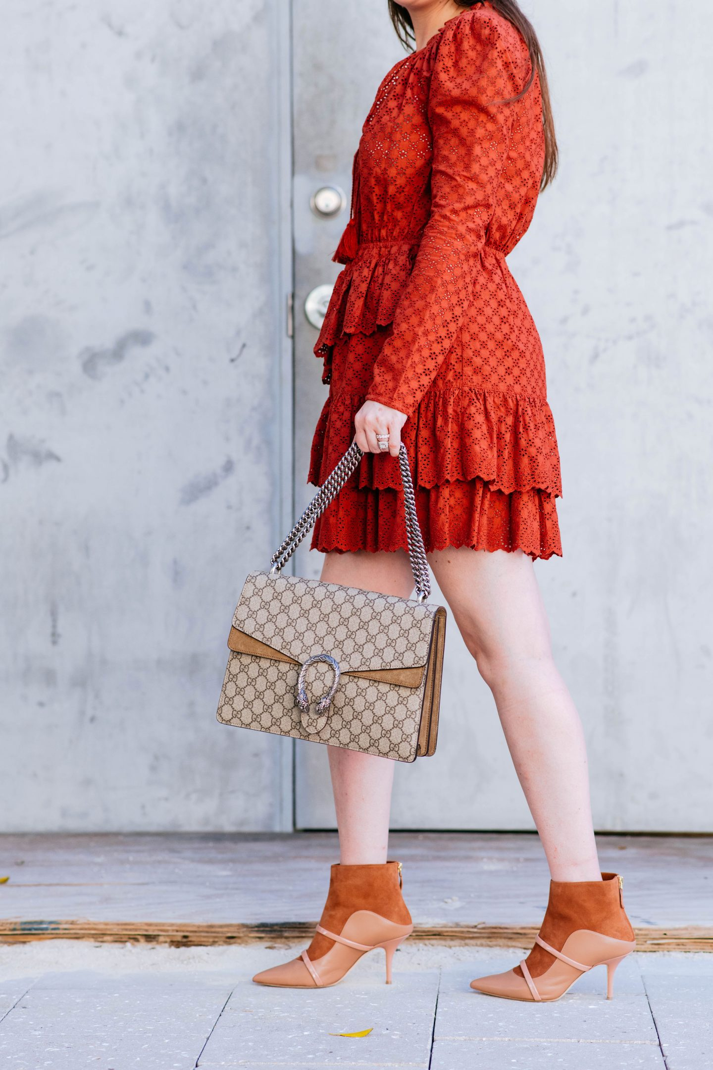 Ulla Johnson Josette Broderie Anglaise Dress, Ulla Johnson dress, Malone Souliers, Malone Souliers madison double band boot, Gucci dionysus, gucci dionysus medium, eyelet dress, ulla johnson eyelet dress, rust colored dress, ulla johnson, gucci dionysus handbag