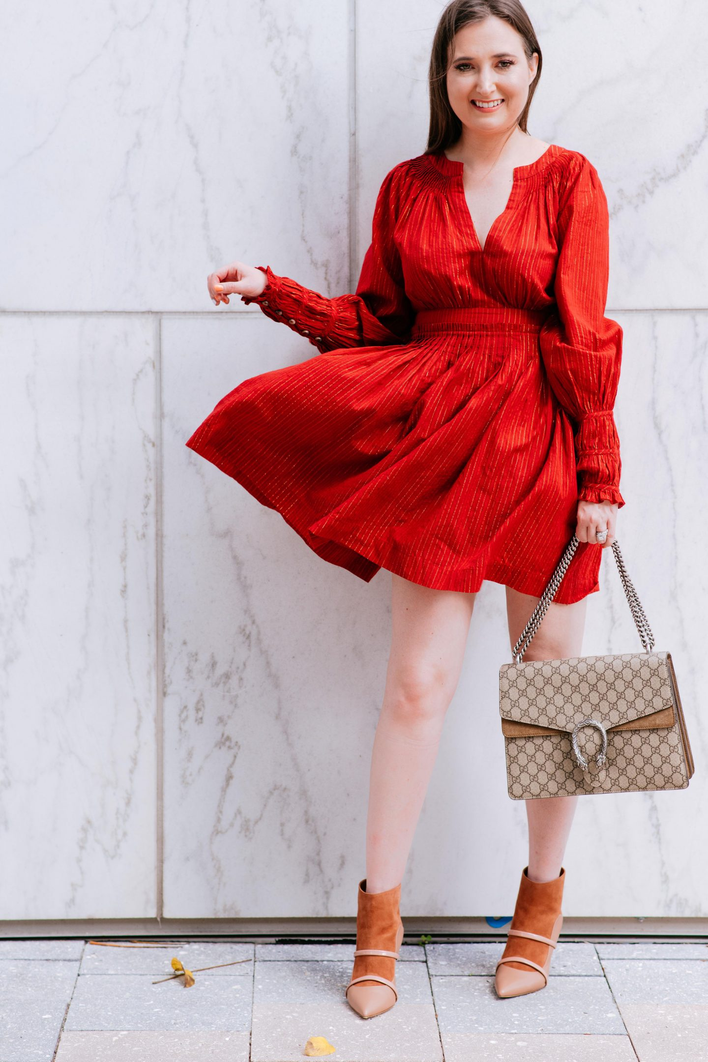 How to Dress Classy the Right Way, ulla johnson red dress, gucci dionysus medium, malone souliers booties