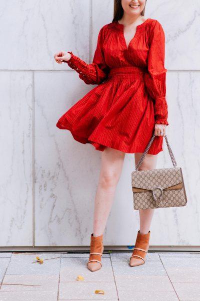 Ulla johnson dress, ulla johnson, red dress, malone souliers booties, gucci dionysus medium, gucci dionysus handbag