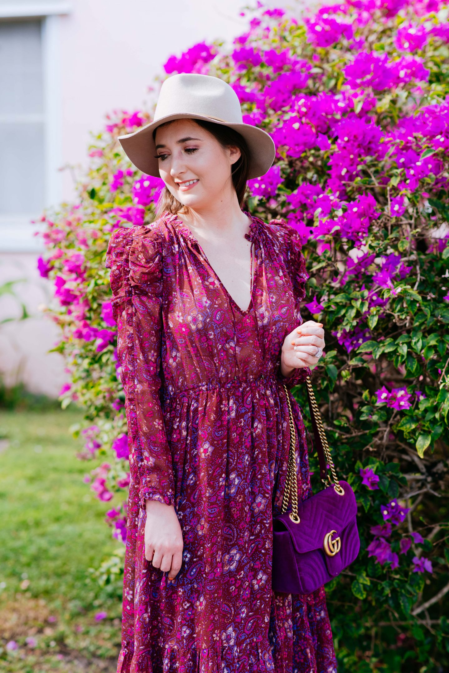 Ulla johnson dress, ulla johnson izar dress, ulla johnson, paisley dress, midi dress, ulla johnson sale, gucci marmont velvet bag, taupe hat