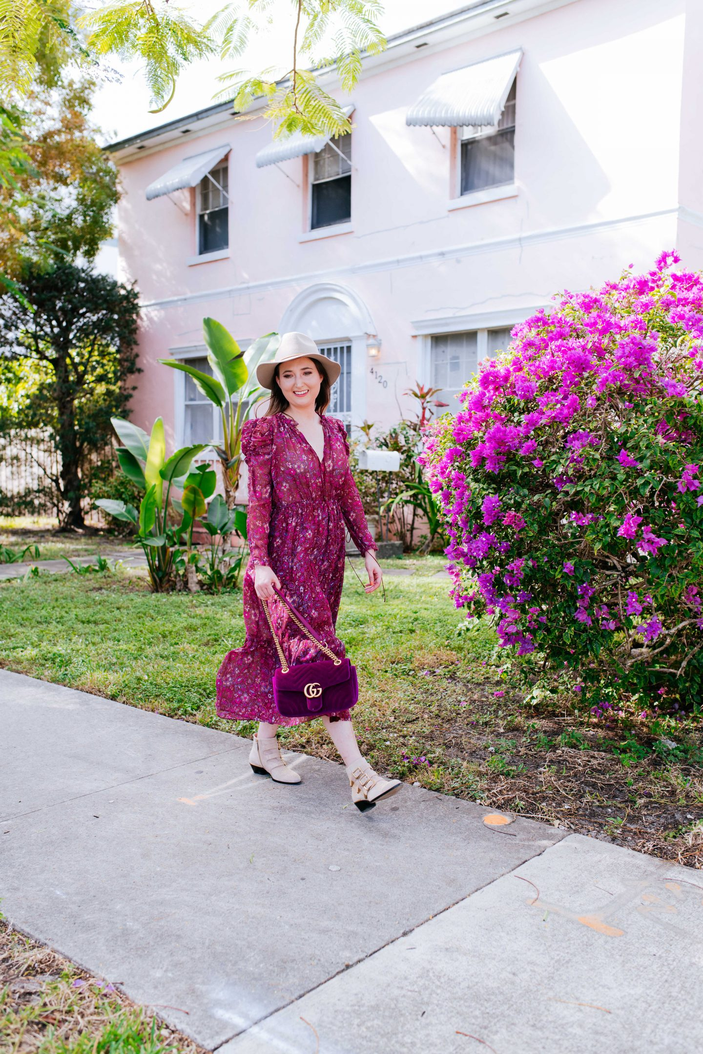 Ulla johnson dress, ulla johnson izar dress, ulla johnson, paisley dress, midi dress, ulla johnson sale, gucci marmont velvet bag, chloe susanna boots, chloe suede boots, chloe susanna suede boots