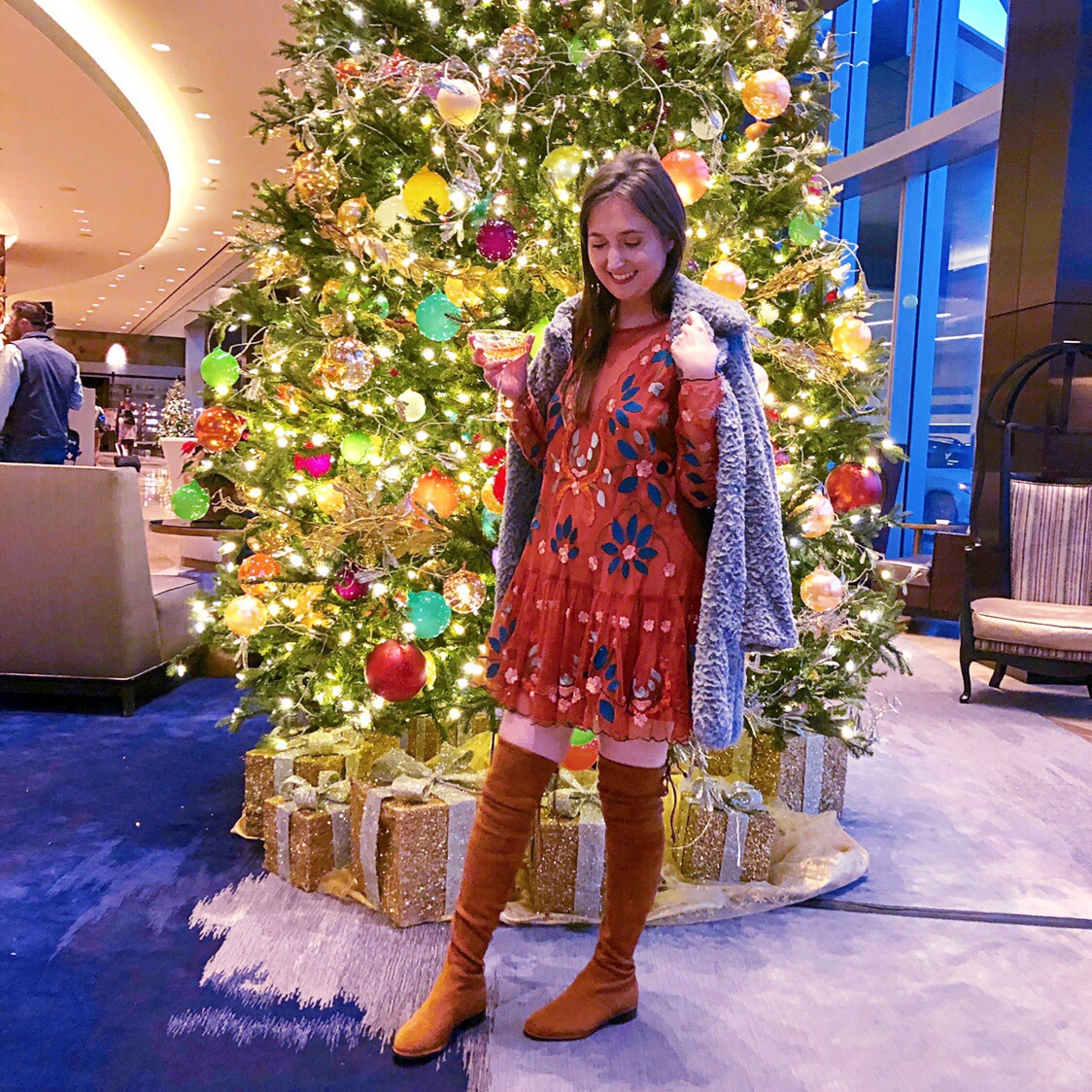 cute winter outfits, best stores to shop for cute winter outfits, kaitlyn pan boots, kaitlyn pan over the knee boots, stuart weitzman dupes, free people hearts are wild dress
