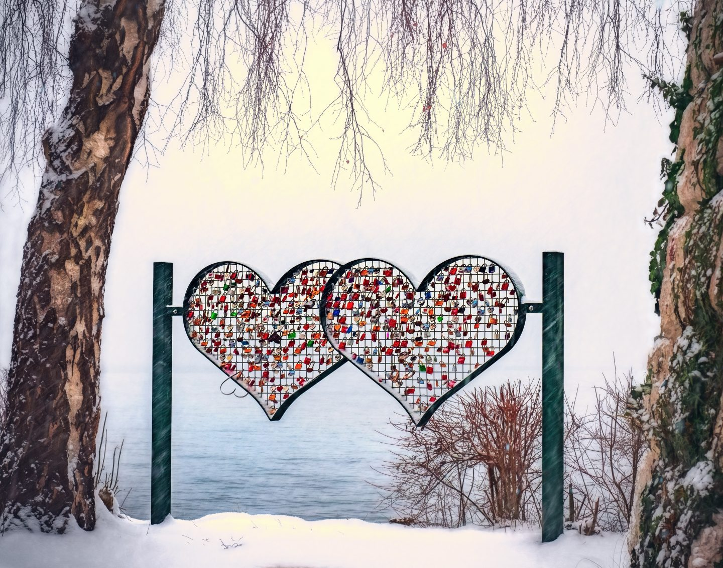 Valentines day, valentines in the snow