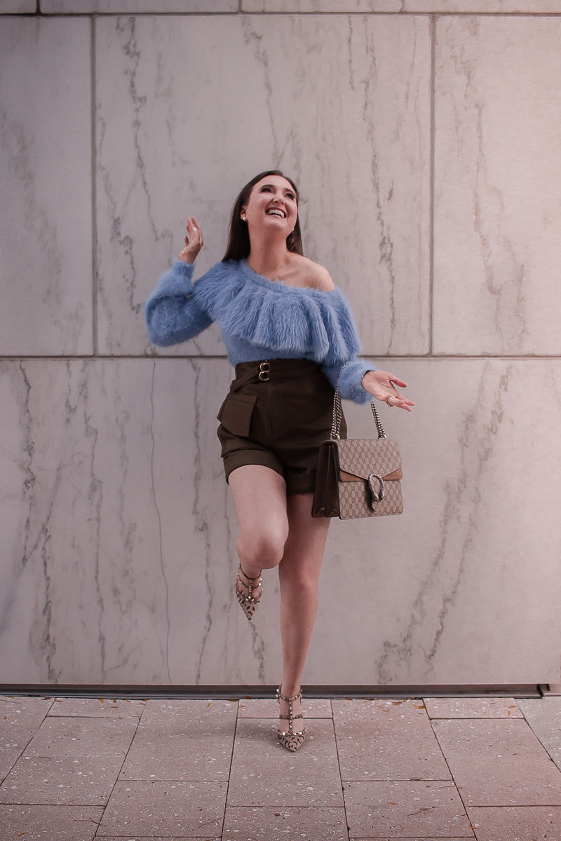 Best Spring Sweater I Can't Stop Wearing | Best spring sweater | off the shoulder sweater | fuzzy one shoulder sweater| house of harlow sweater| self portrait twill shorts | valentino rockstud leopard heels | gucci dionysus medium handbag | spring outfit inspiration 2019 | sweater and shorts outfit