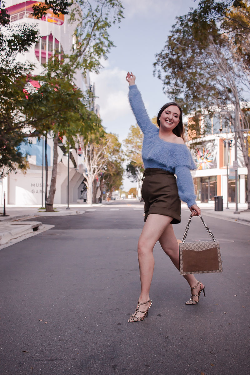 Best Spring Sweater I Can't Stop Wearing | Best spring sweater | off the shoulder sweater | fuzzy one shoulder sweater| house of harlow sweater| self portrait twill shorts | valentino rockstud leopard heels | gucci dionysus medium handbag | miami design district