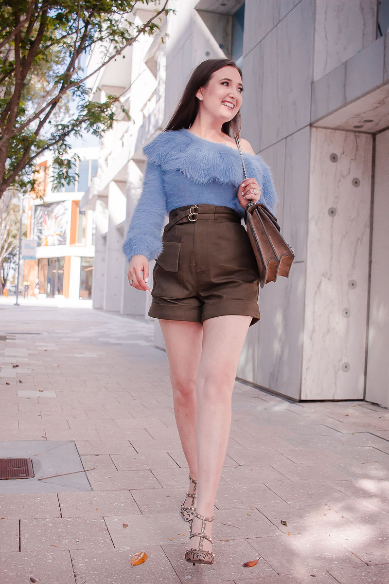 Best Spring Sweater I Can't Stop Wearing | Best spring sweater | off the shoulder sweater | fuzzy one shoulder sweater| house of harlow sweater| self portrait twill shorts | valentino rockstud leopard heels | gucci dionysus medium handbag | spring outfit inspiration 2019 | sweater and shorts outfit | miami design district