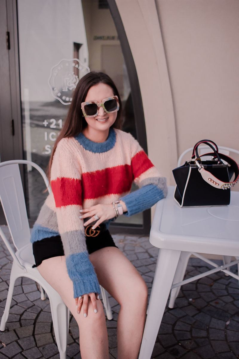 Fendi bag strap, striped sweater, black denim shorts, fendi mini 3 jours handbag, fendi bag strap review, gucci marmont belt, black gucci belt, glitter gucci sunglasses