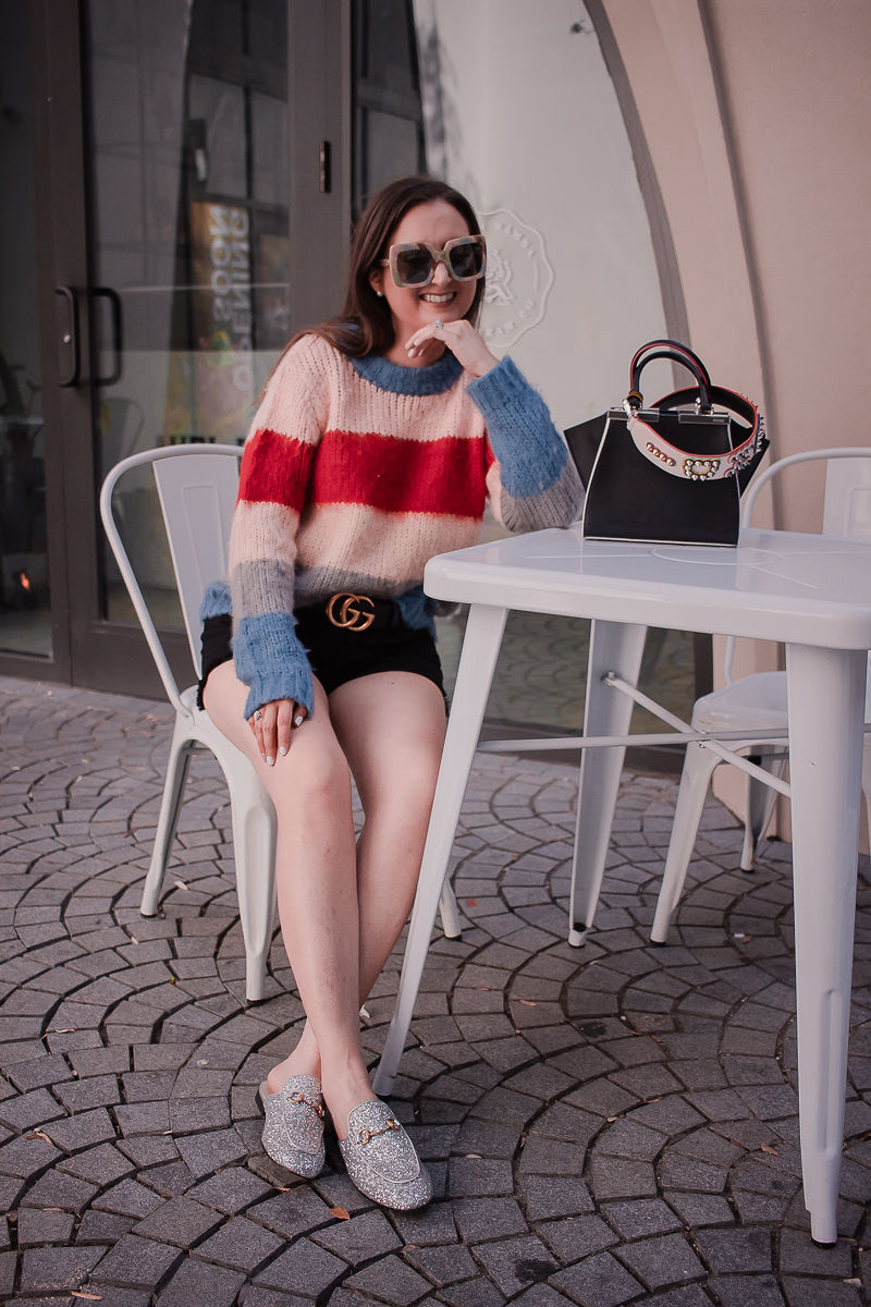 Fendi bag strap, striped sweater, black denim shorts, fendi mini 3 jours handbag, fendi bag strap review, gucci marmont belt, black gucci belt, glitter gucci mules, gucci princetown mules glitter, spring outfit inspiration, luxury fashion outfit