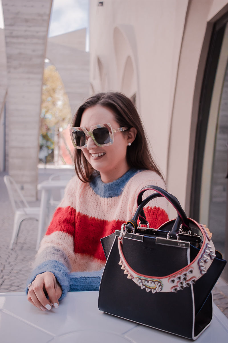 Fendi bag strap, striped sweater, black denim shorts, fendi mini 3 jours handbag, fendi bag strap review, gucci glitter sunglasses
