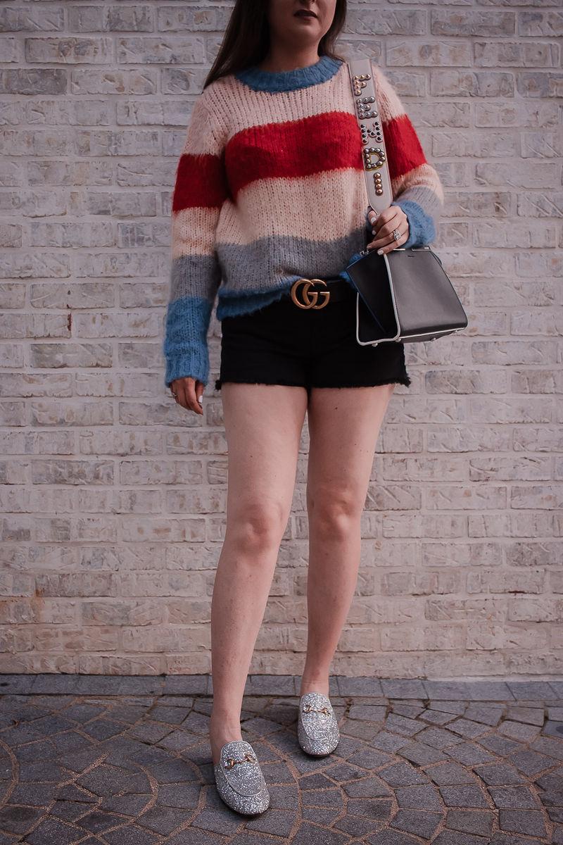 How To Wear A Designer Belt: Gucci & Louis Vuitton, gucci glitter mules, striped sweater, black gucci belt, gucci marmont belt, fendi bag strap, fendi mini 3jours